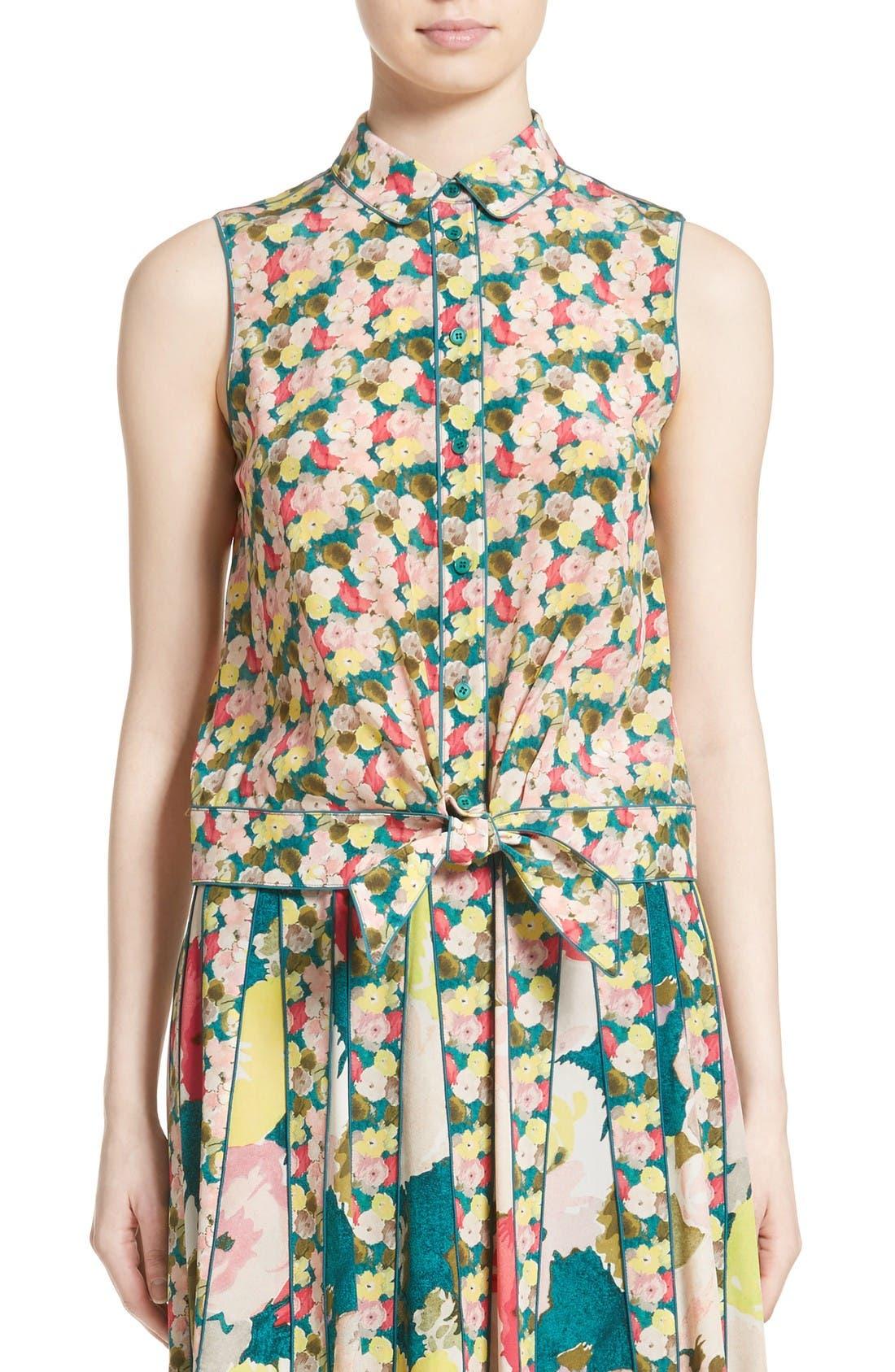 Main Image - Lafayette 148 New York Tisha Floral Silk Blouse