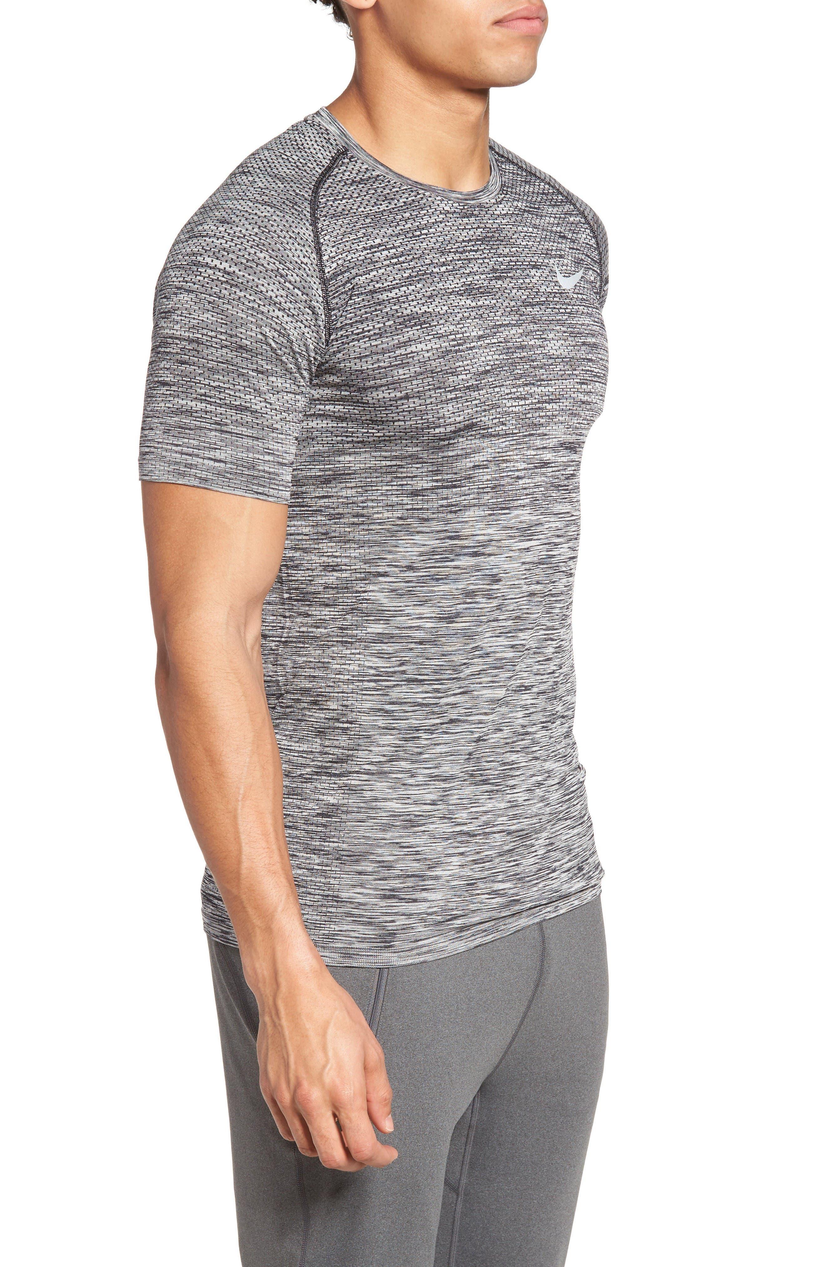 Men Dry Knit Running T-Shirt,                             Alternate thumbnail 3, color,                             Black/ Heather