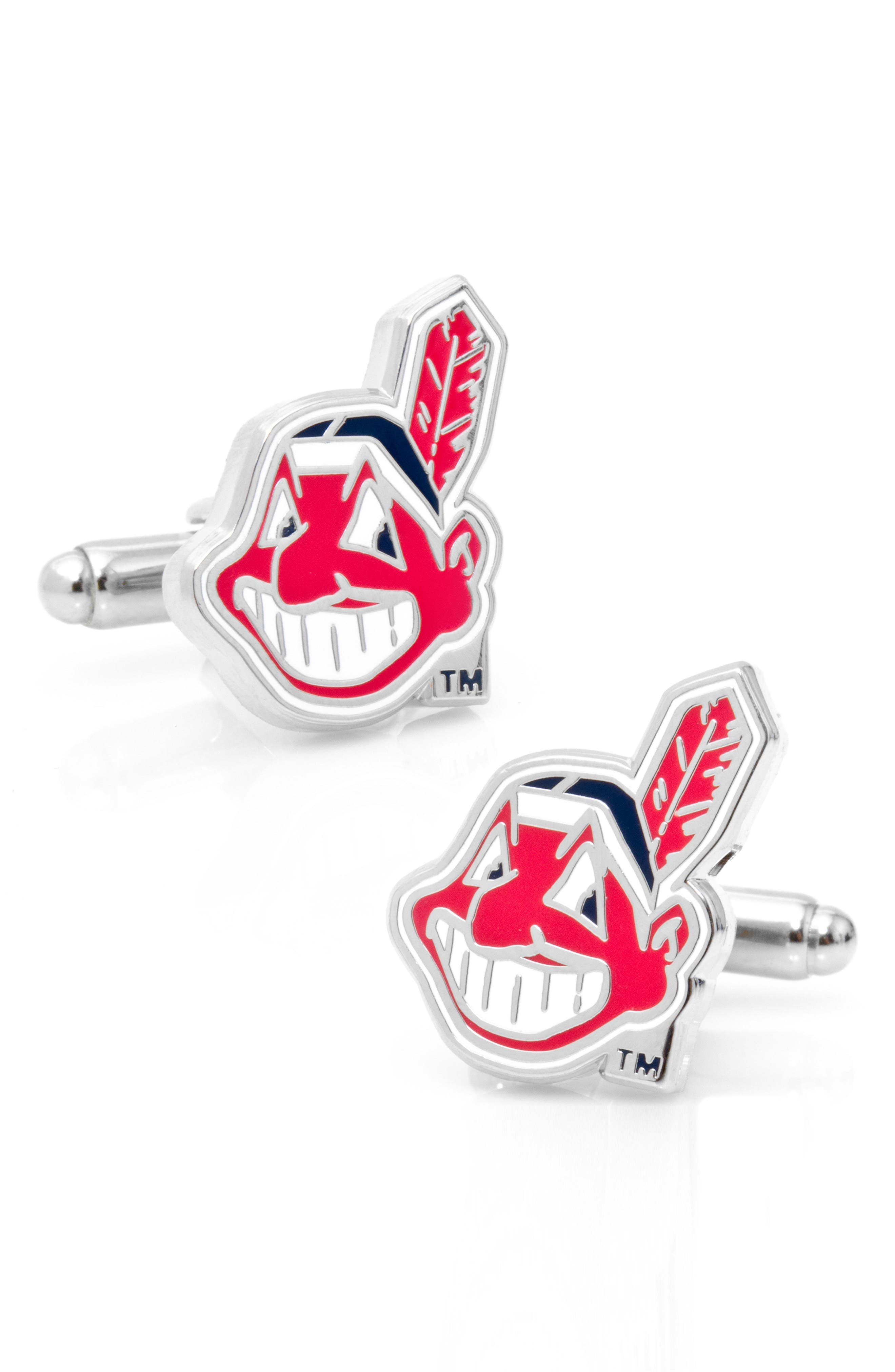Cleveland Indians Cuff Links,                         Main,                         color, Red