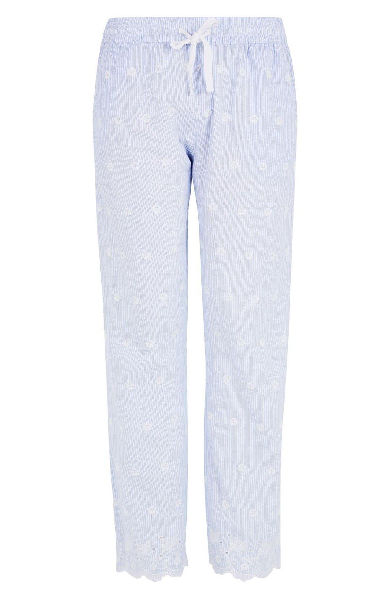 Alternate Image 5  - Topshop Embroidered Stripe Pajama Pants