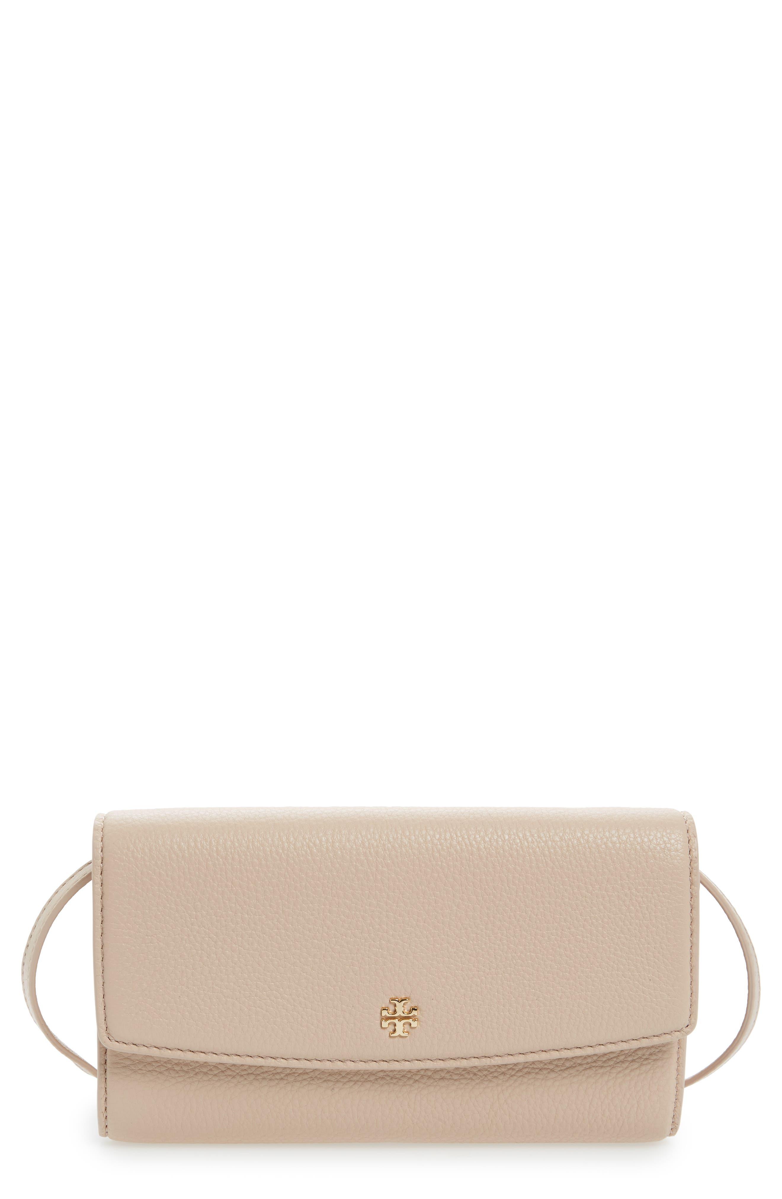 Leather Wallet Crossbody Bag,                         Main,                         color, Light Oak