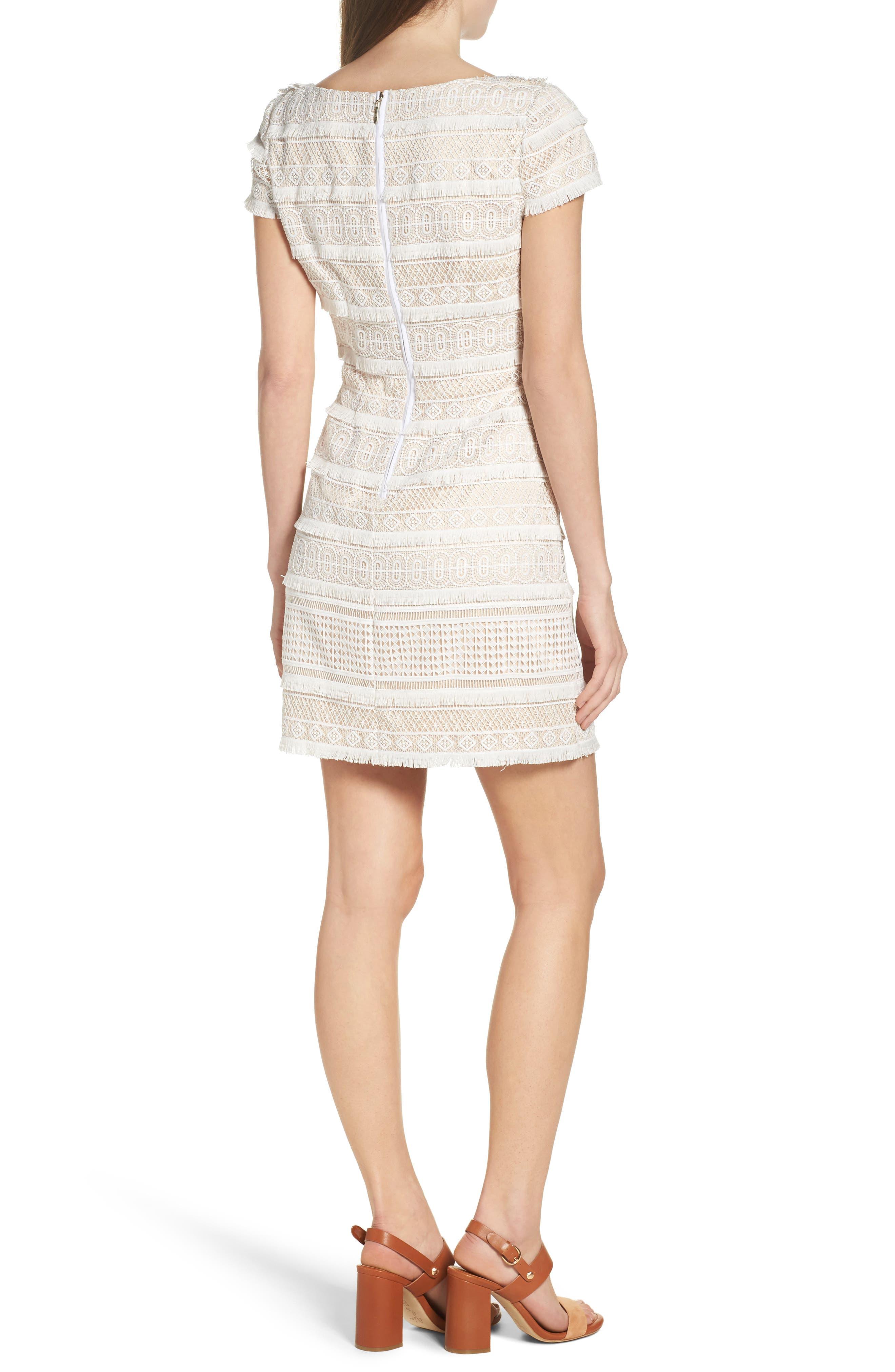 Lace Shift Dress,                             Alternate thumbnail 3, color,                             Ivory