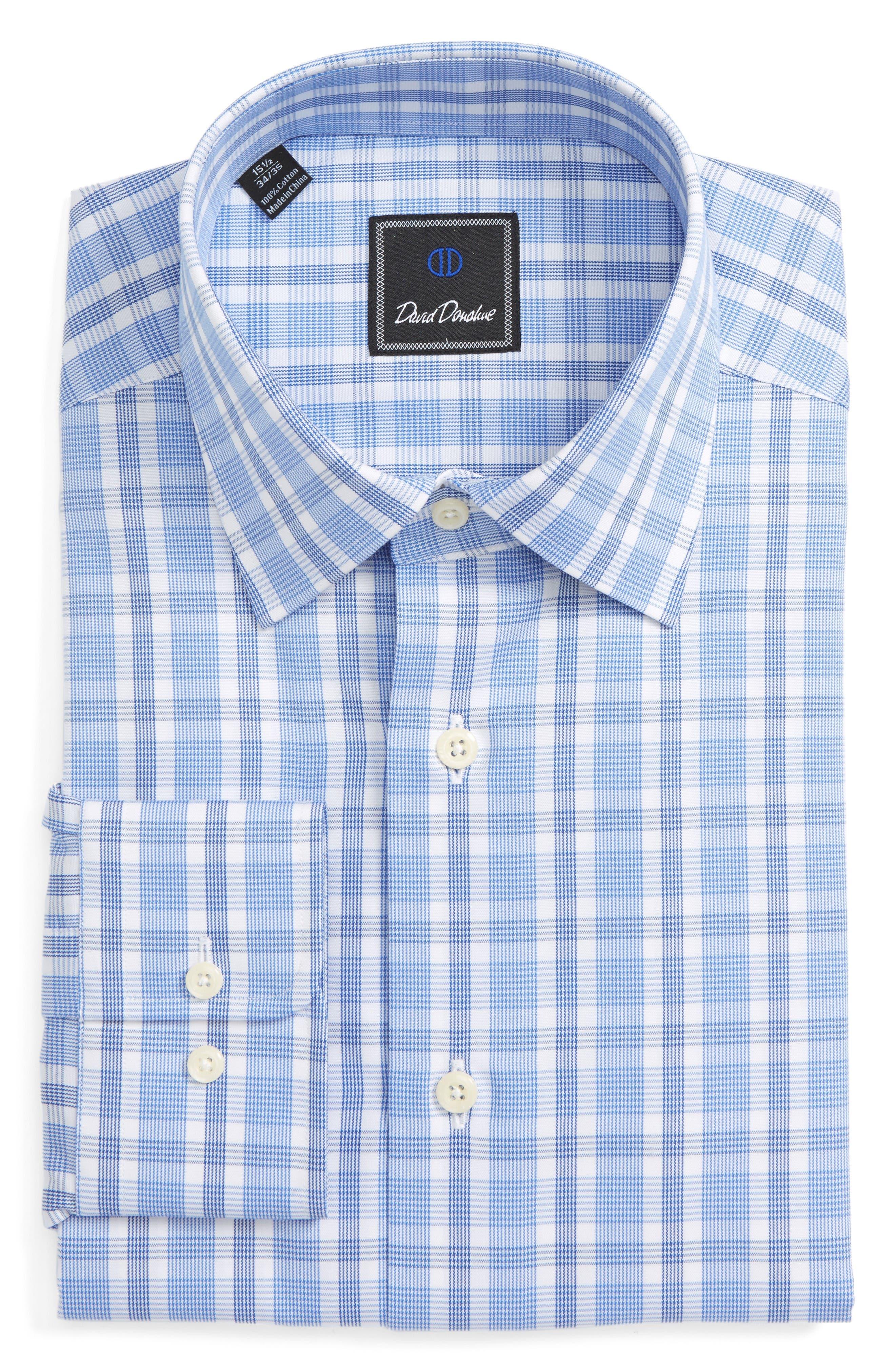 Regular Fit Check Dress Shirt,                         Main,                         color, Blue/ Navy