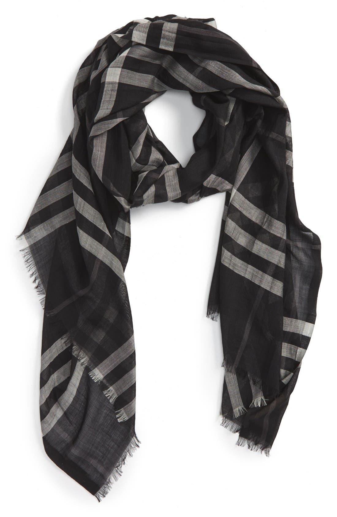 Main Image - Burberry Giant Check Print Wool & Silk Scarf