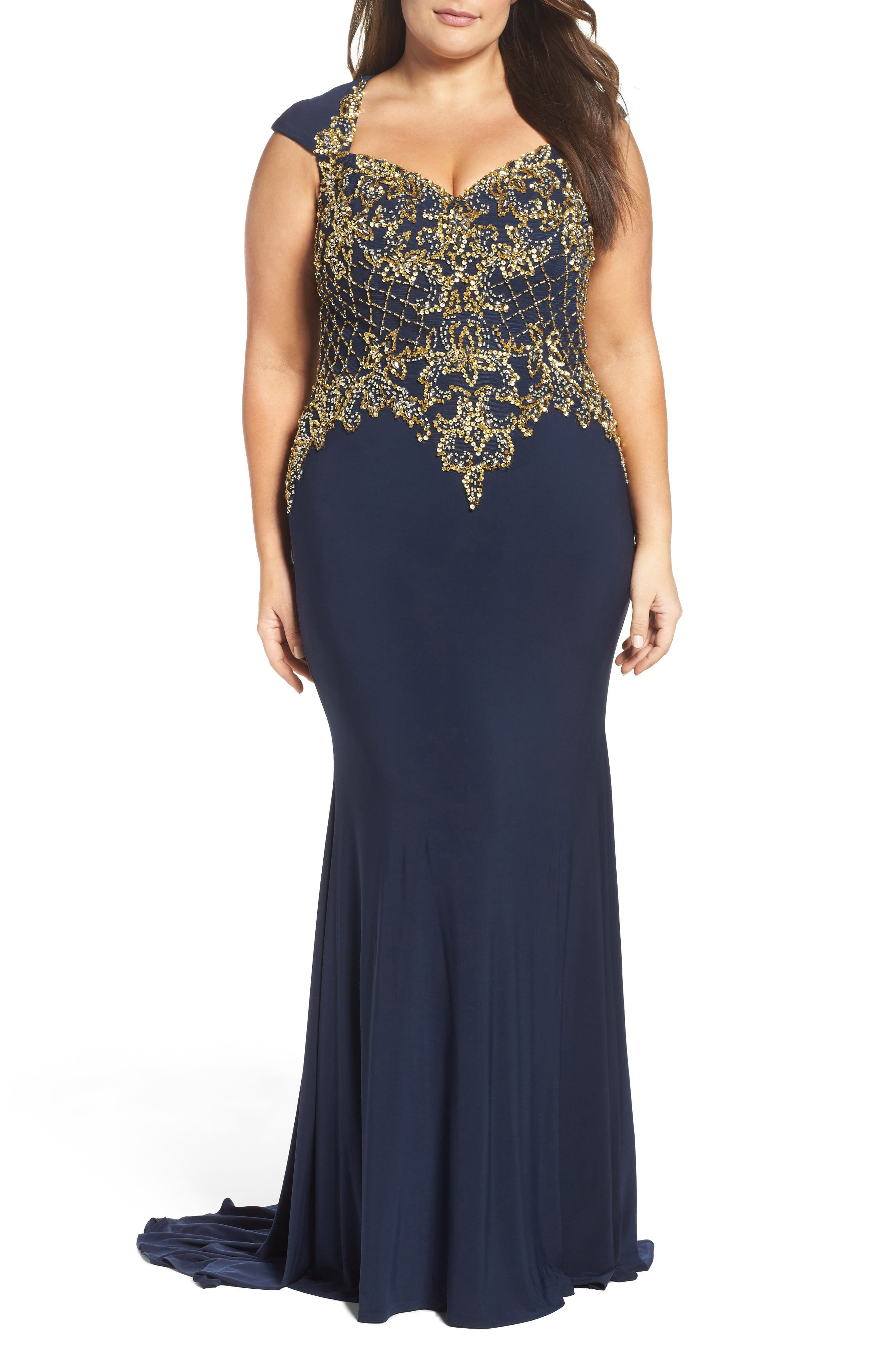 Embellished Jersey Mermaid Gown,                             Main thumbnail 1, color,                             Midnight