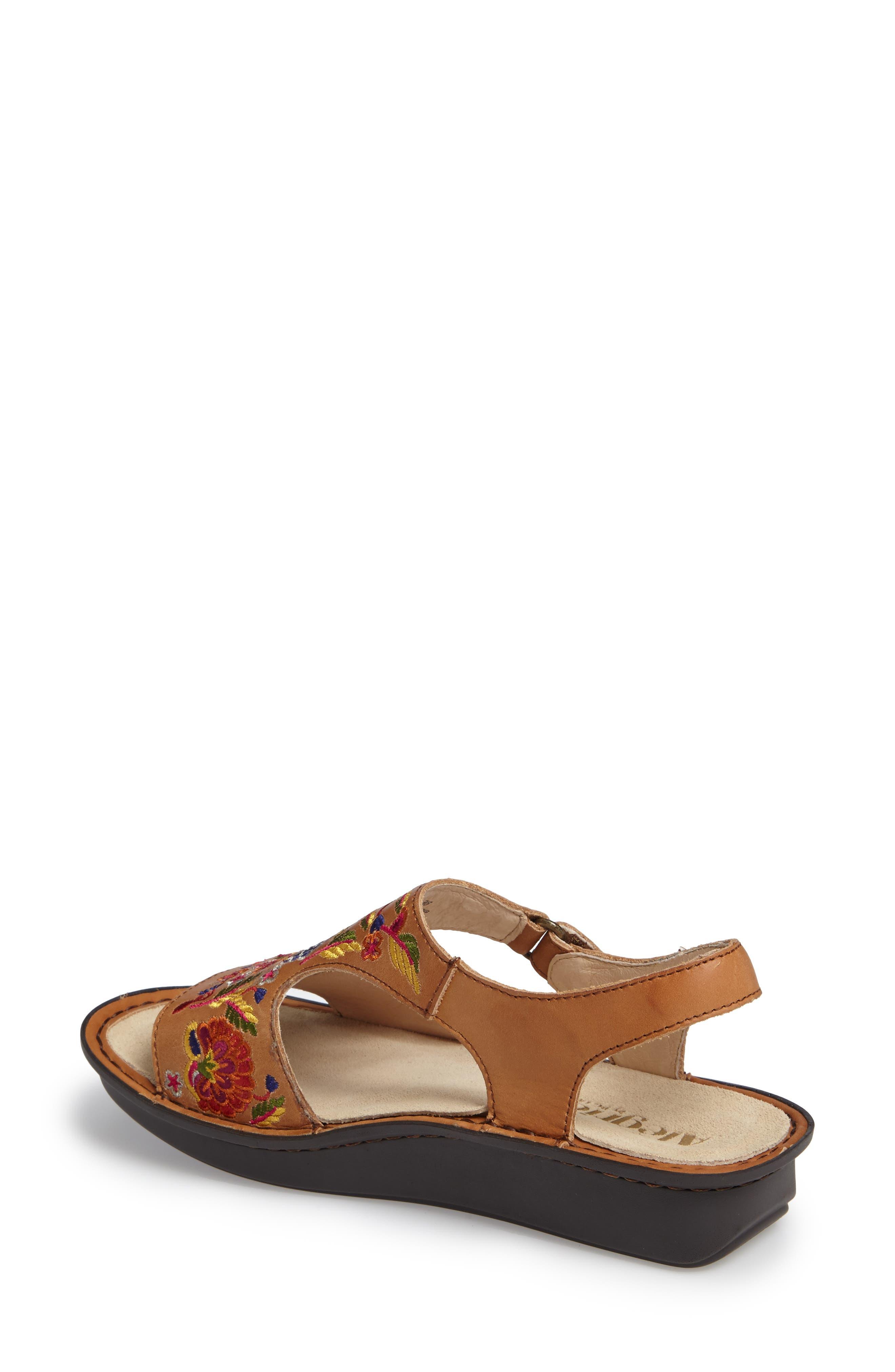 Viki Embroidered Sandal,                             Alternate thumbnail 2, color,                             Cognac Pins/ Needles Leather