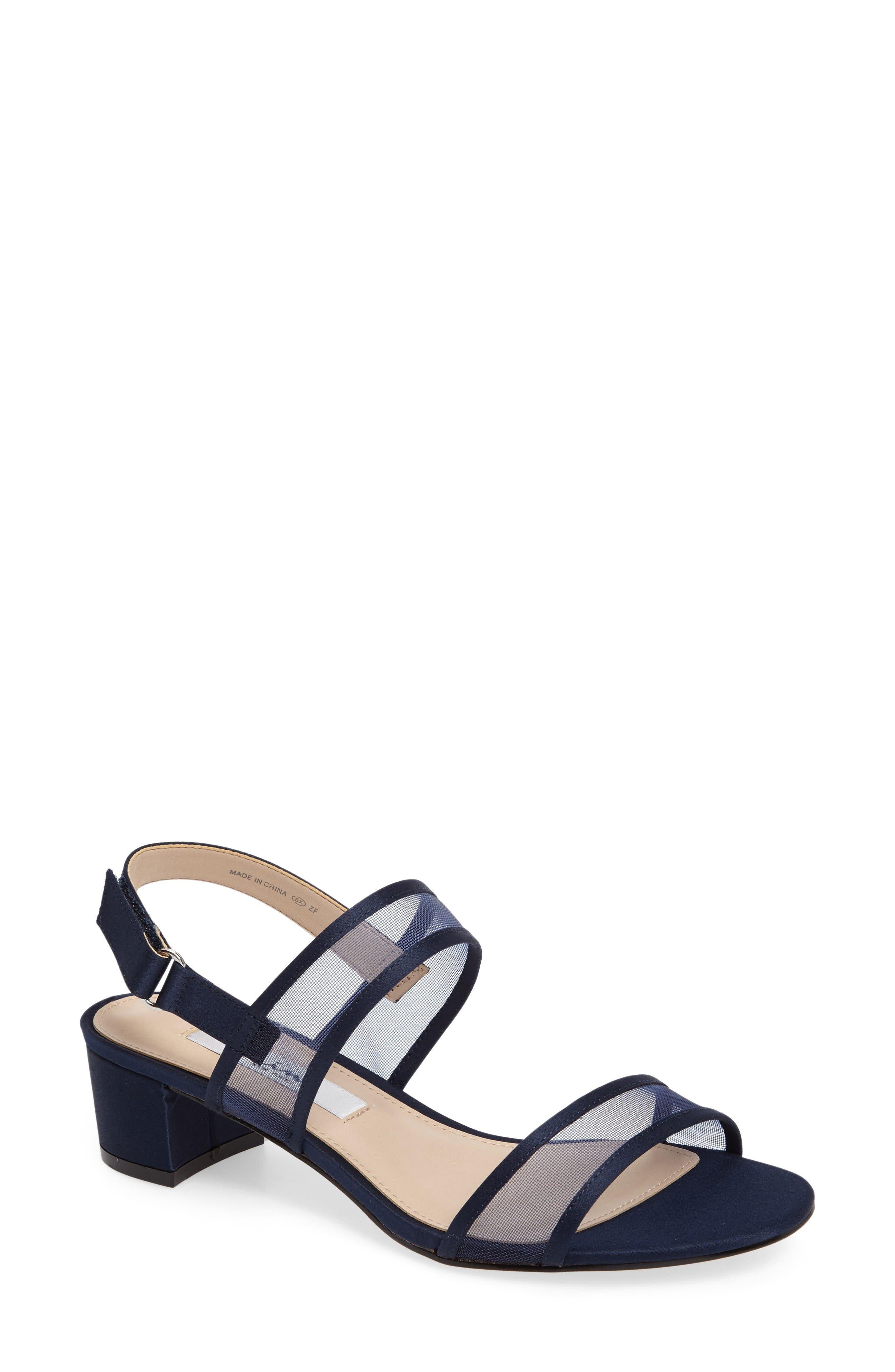 Ganice Mesh Strap Sandal,                         Main,                         color, New Navy Satin