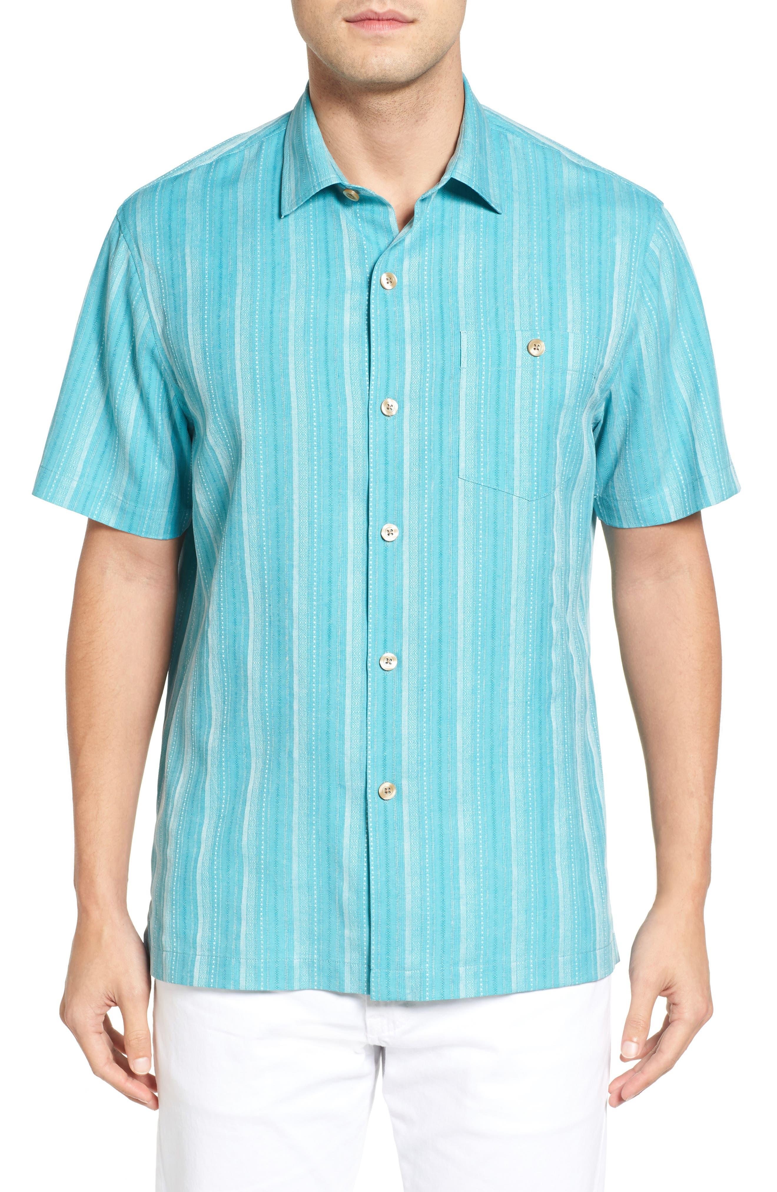 Zaldera Stripe Silk Camp Shirt,                         Main,                         color, Lagoon Water