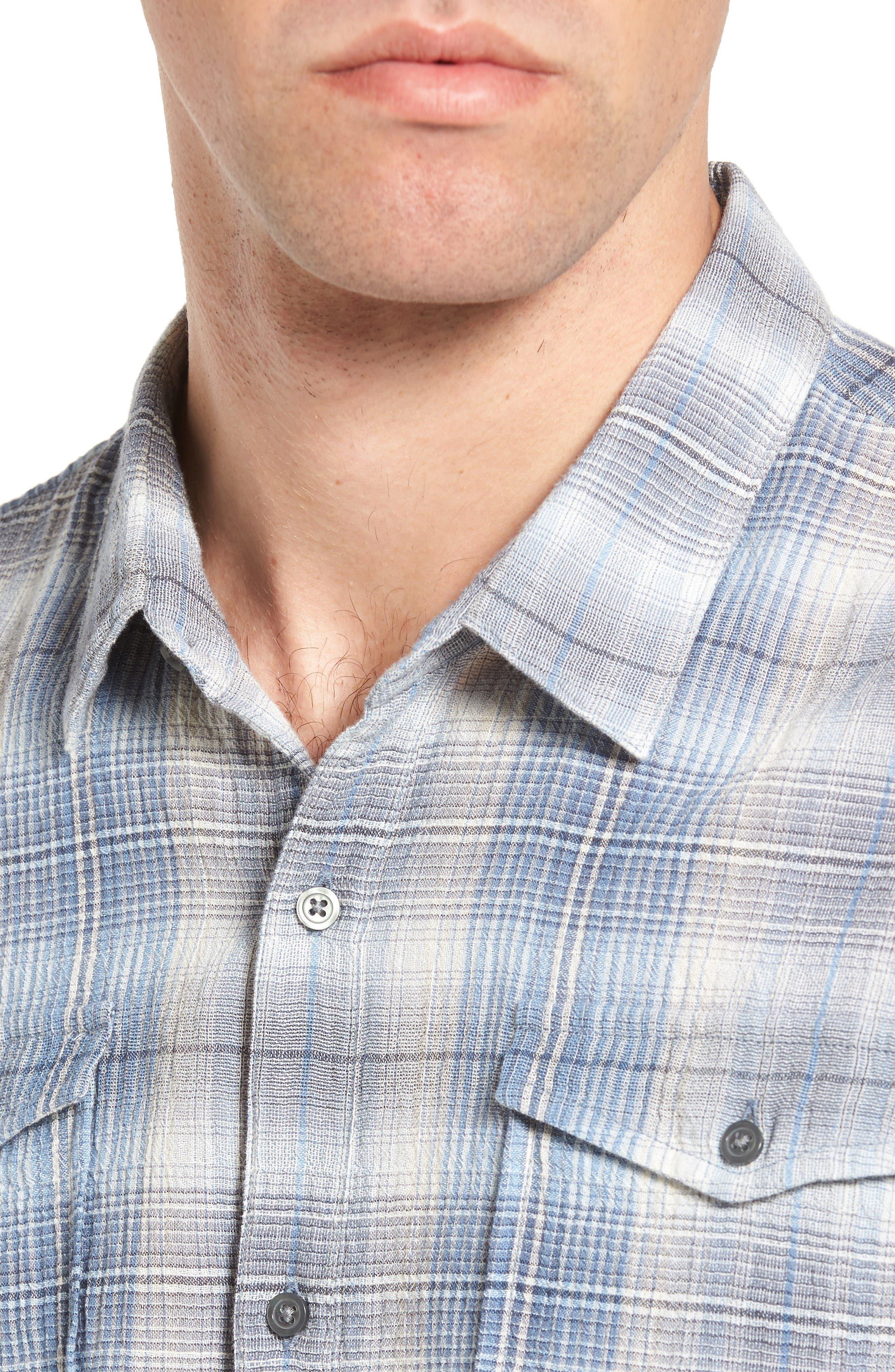 Trim Fit Plaid Sport Shirt,                             Alternate thumbnail 4, color,                             Water Blue