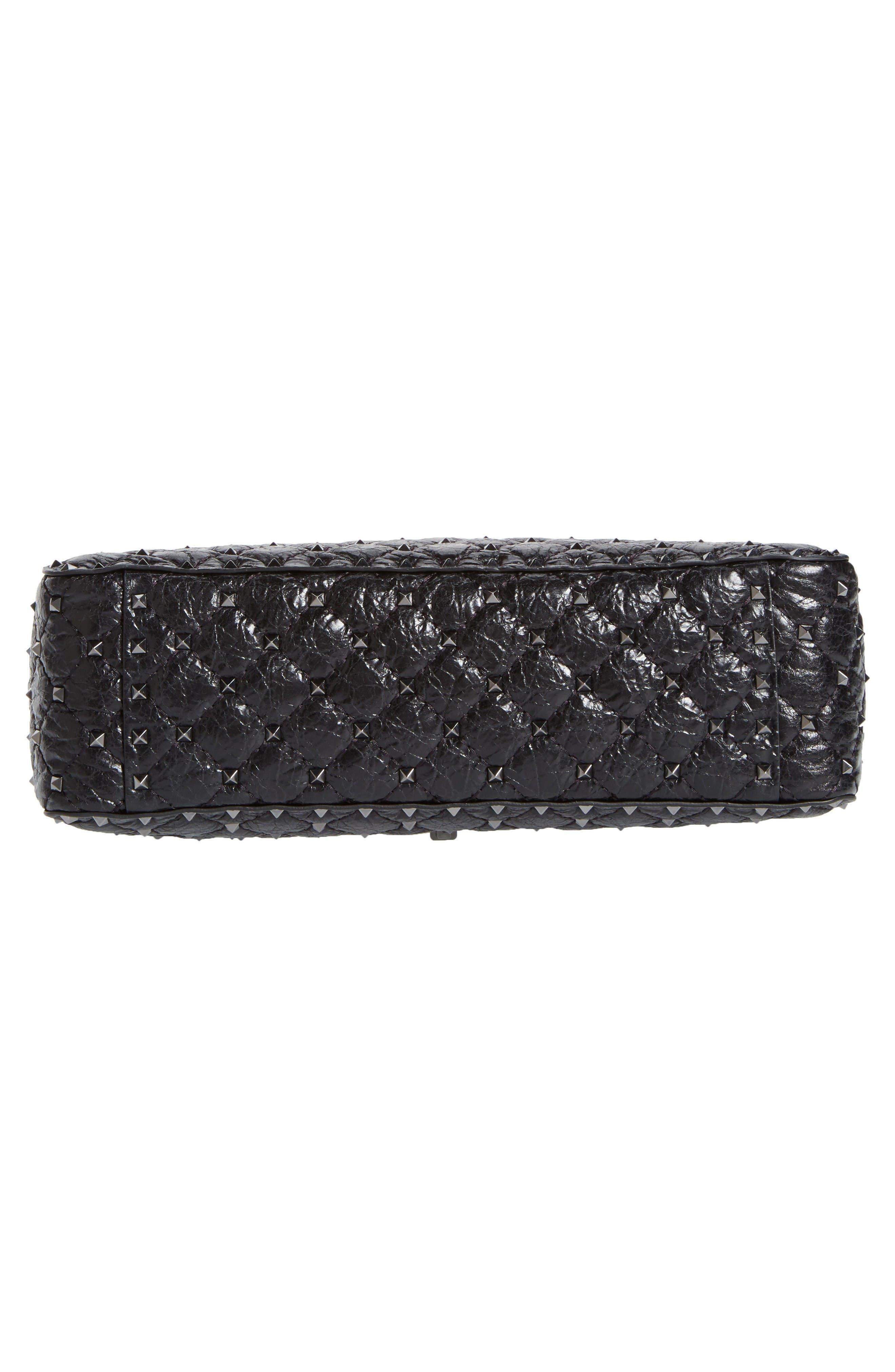 Rockstud Spike Large Shoulder Bag,                             Alternate thumbnail 6, color,                             Black