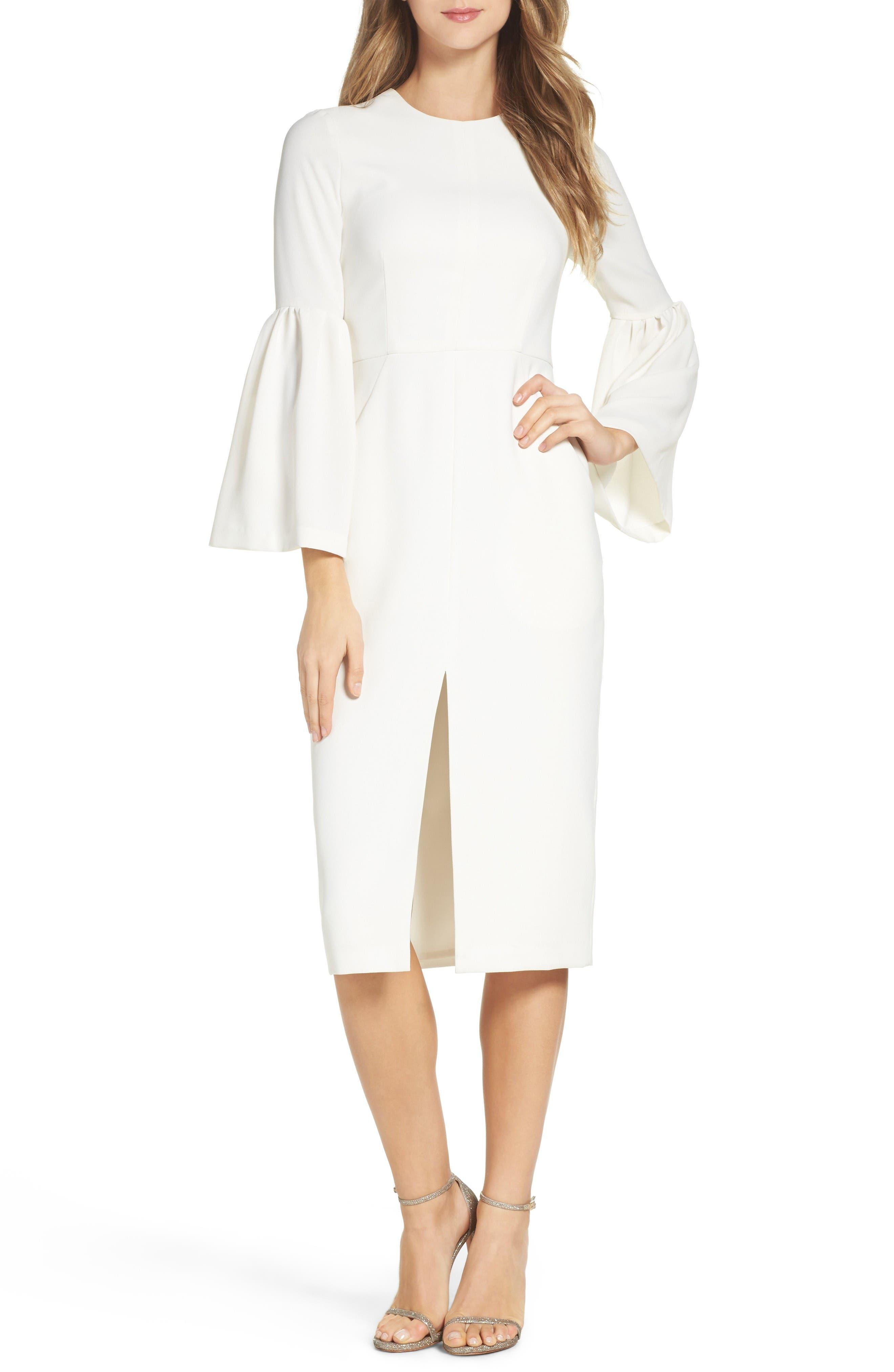 Crepe Midi Dress,                             Main thumbnail 1, color,                             Off White