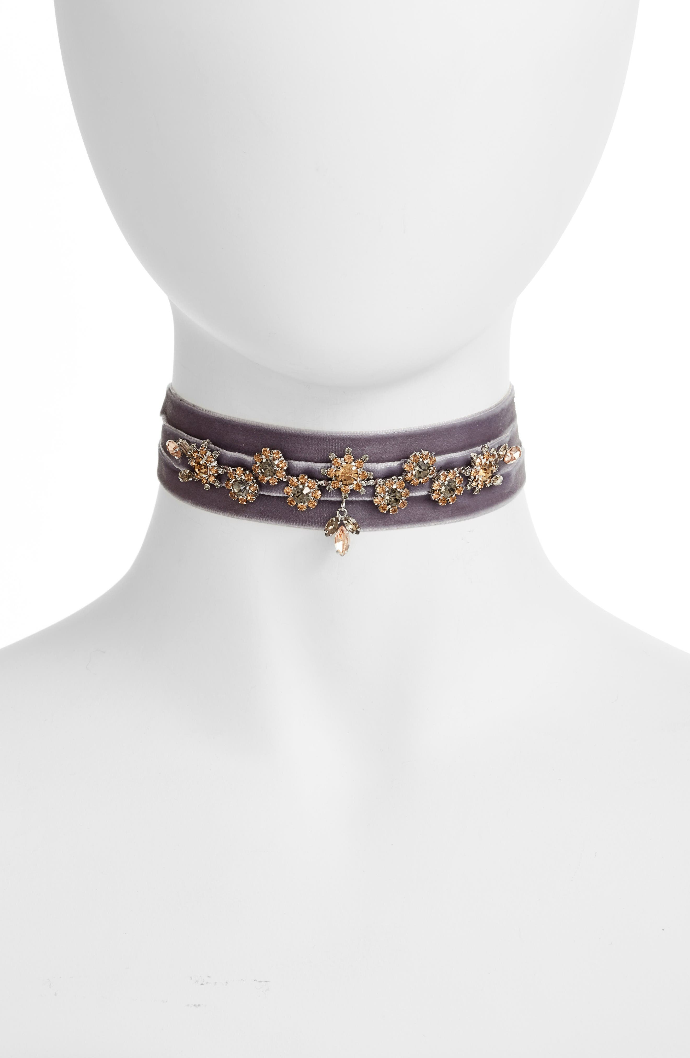 Alternate Image 1 Selected - CRISTABELLE Crystal & Velvet Wrap Choker