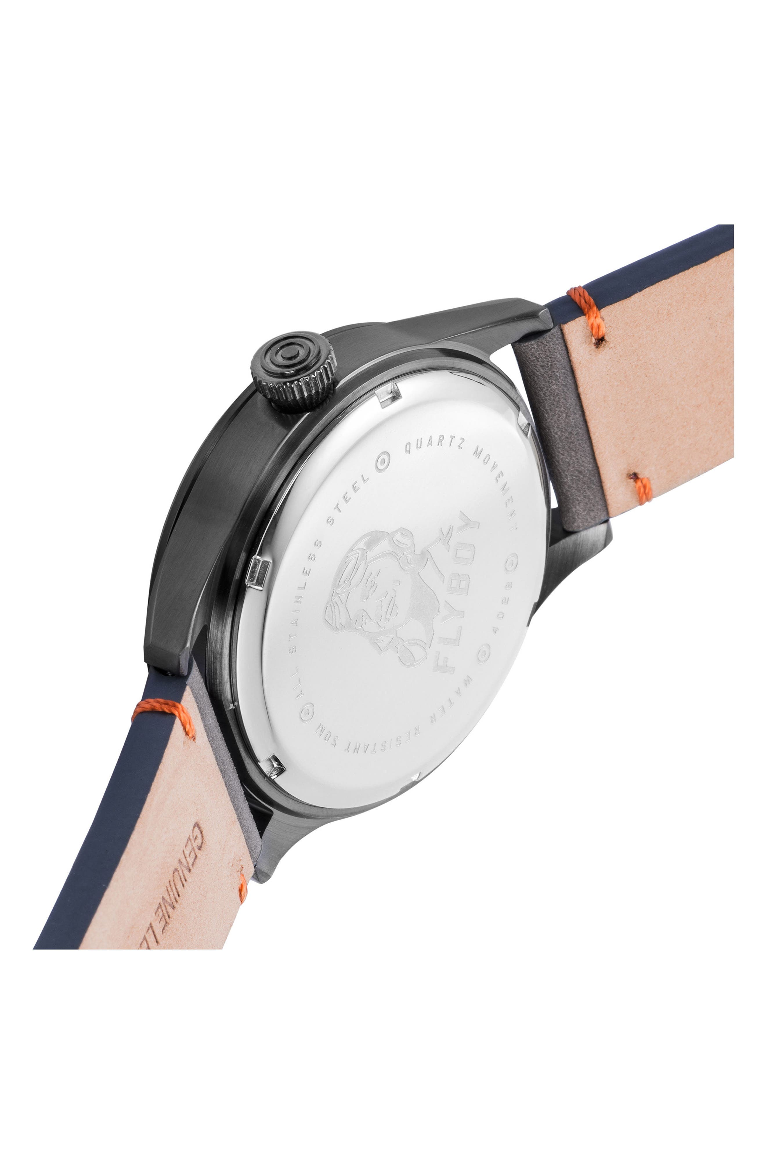 Alternate Image 2  - AVI-8 Flyboy Leather Strap Watch, 43mm