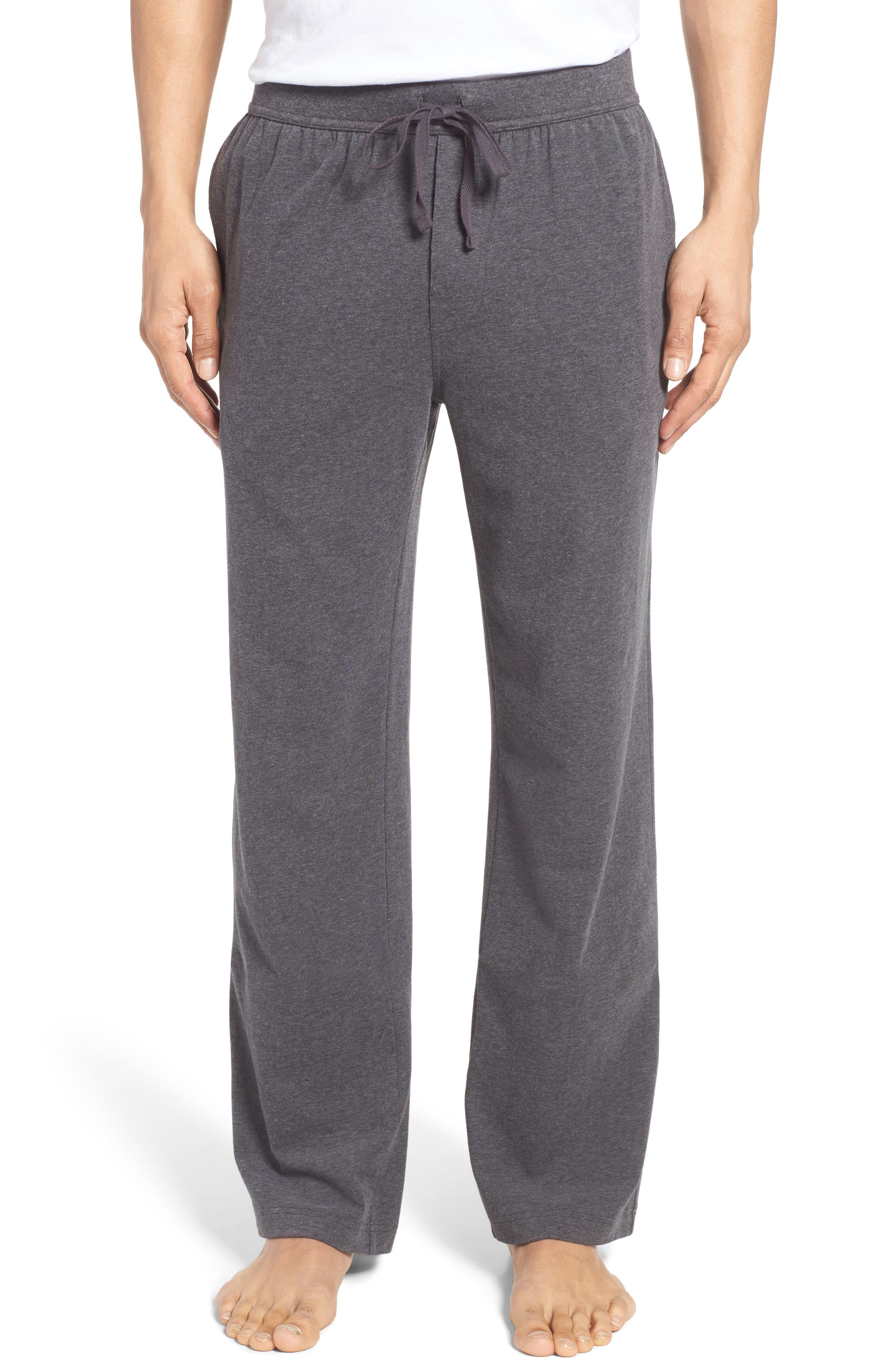 Stretch Cotton Lounge Pants,                         Main,                         color, Grey Charcoal