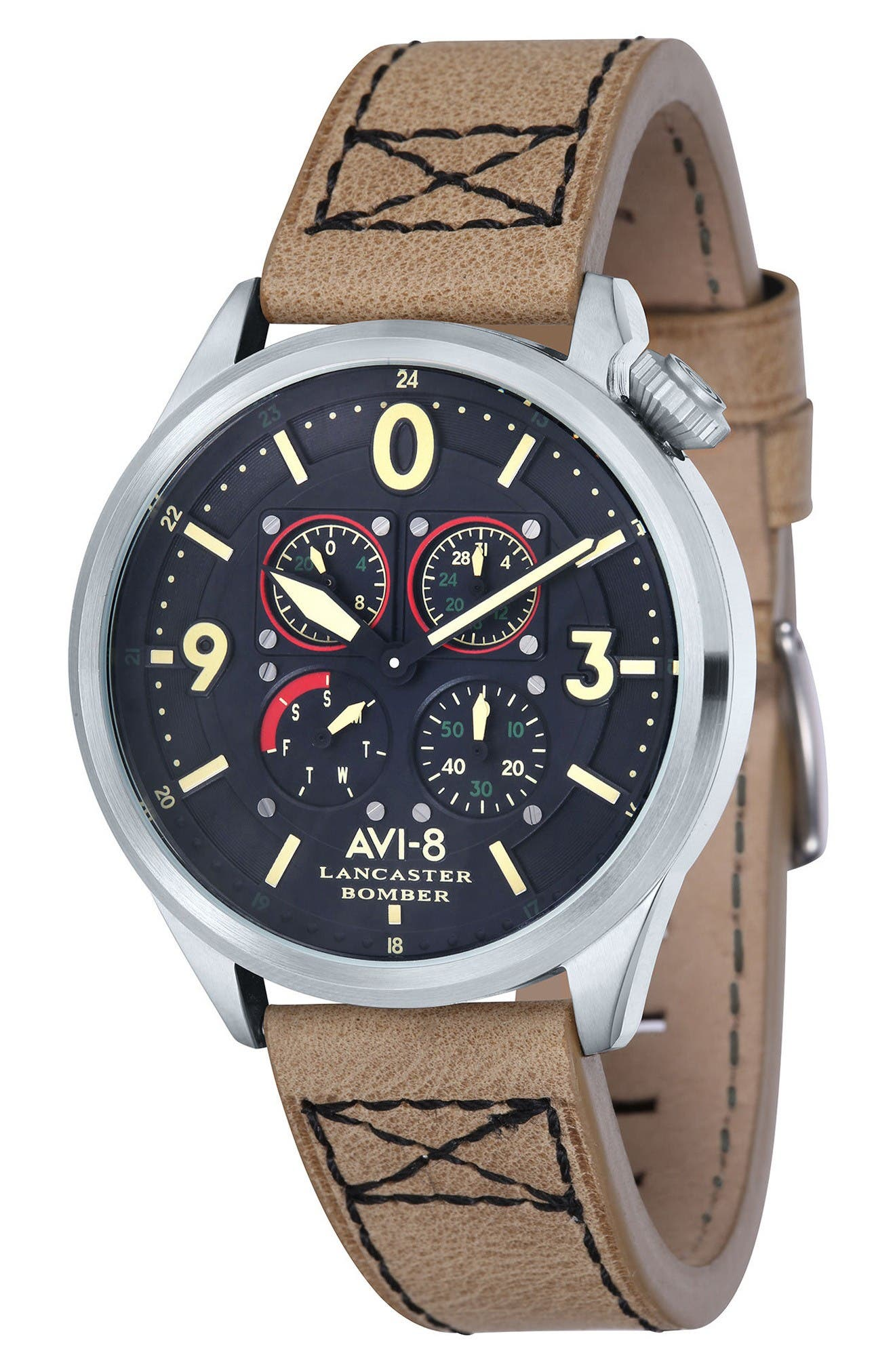 Lancaster Bomber Multifunction Leather Strap Watch, 44mm,                             Main thumbnail 1, color,                             Black/ Beige