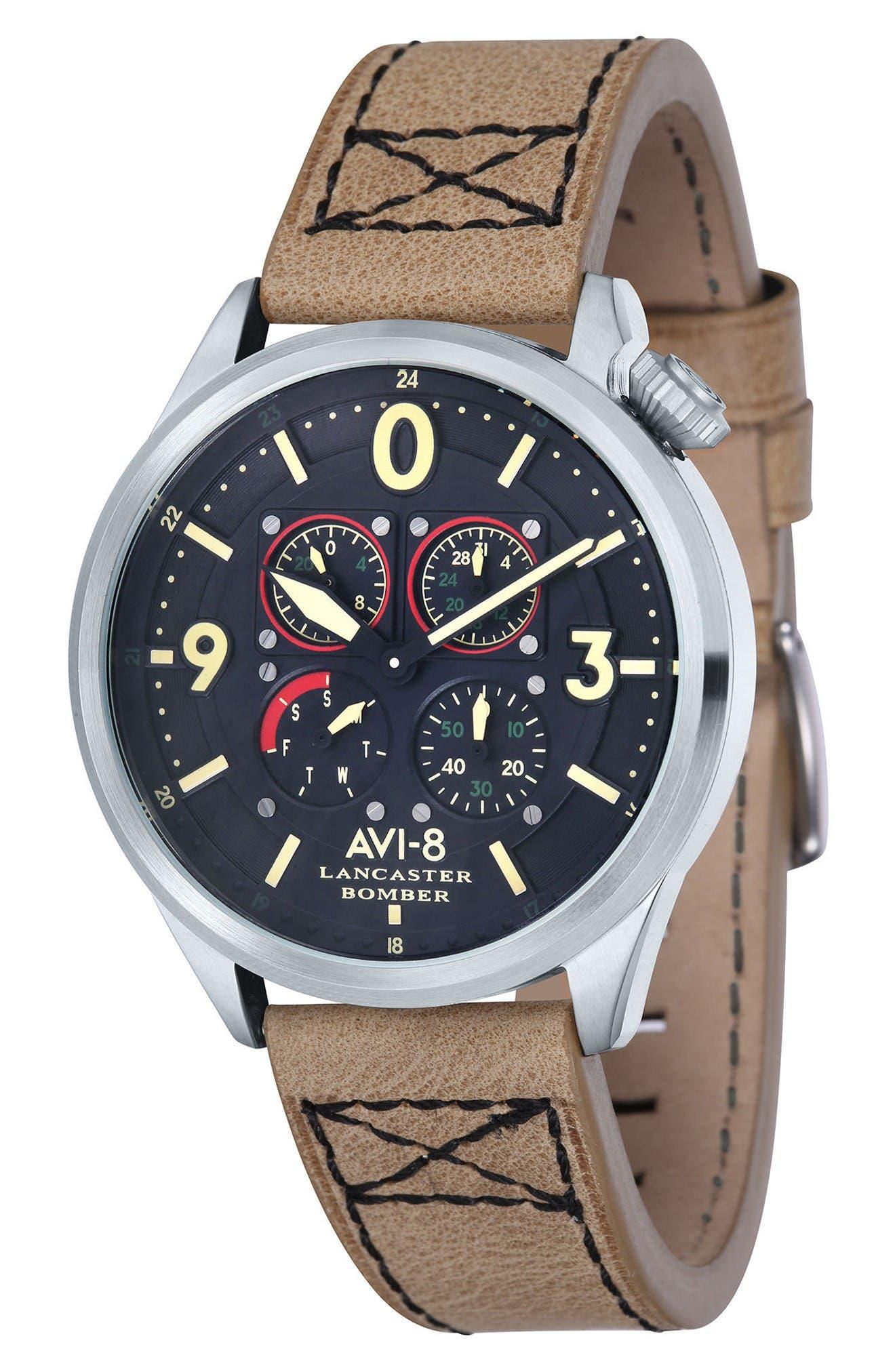 Lancaster Bomber Multifunction Leather Strap Watch, 44mm,                         Main,                         color, Black/ Beige