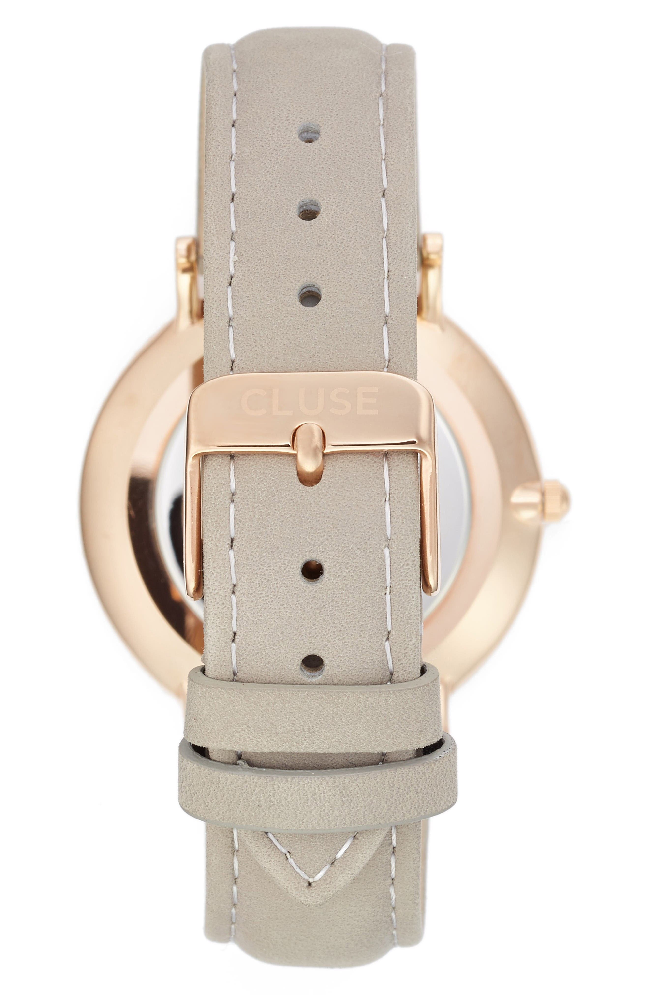 La Bohème Leather Strap Watch, 38mm,                             Alternate thumbnail 2, color,                             Grey/ White/ Rose Gold
