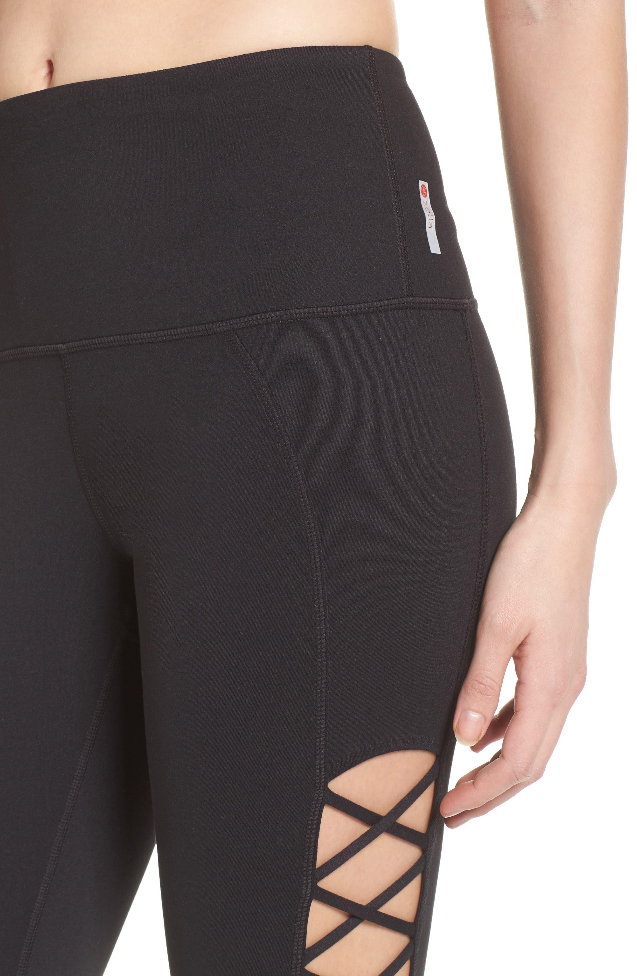 Alternate Image 4  - Zella Lace It Up High Waist Midi Leggings
