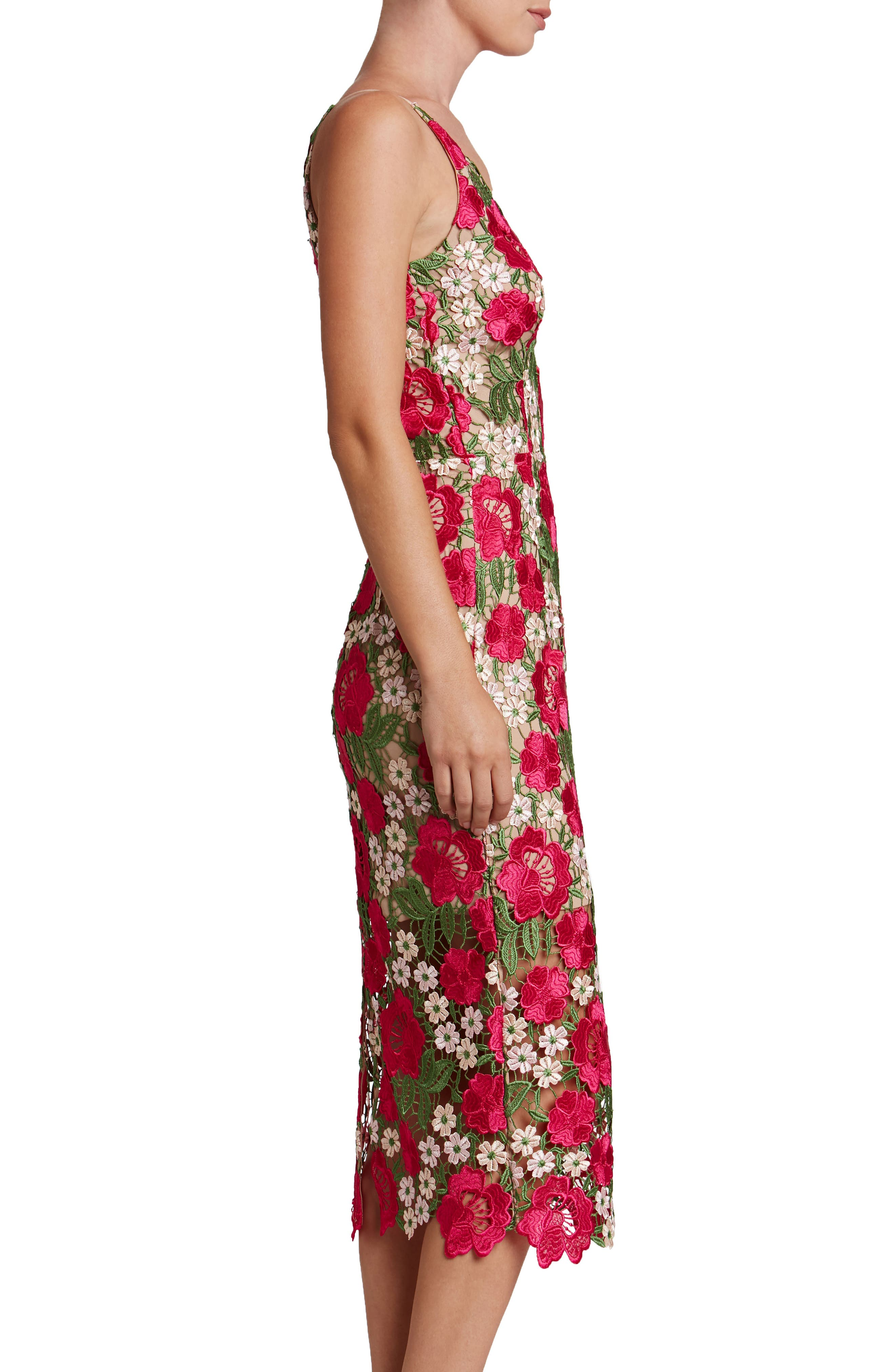 Alternate Image 3  - Dress the Population Aurora Floral Crochet Midi Dress (Nordstrom Exclusive)