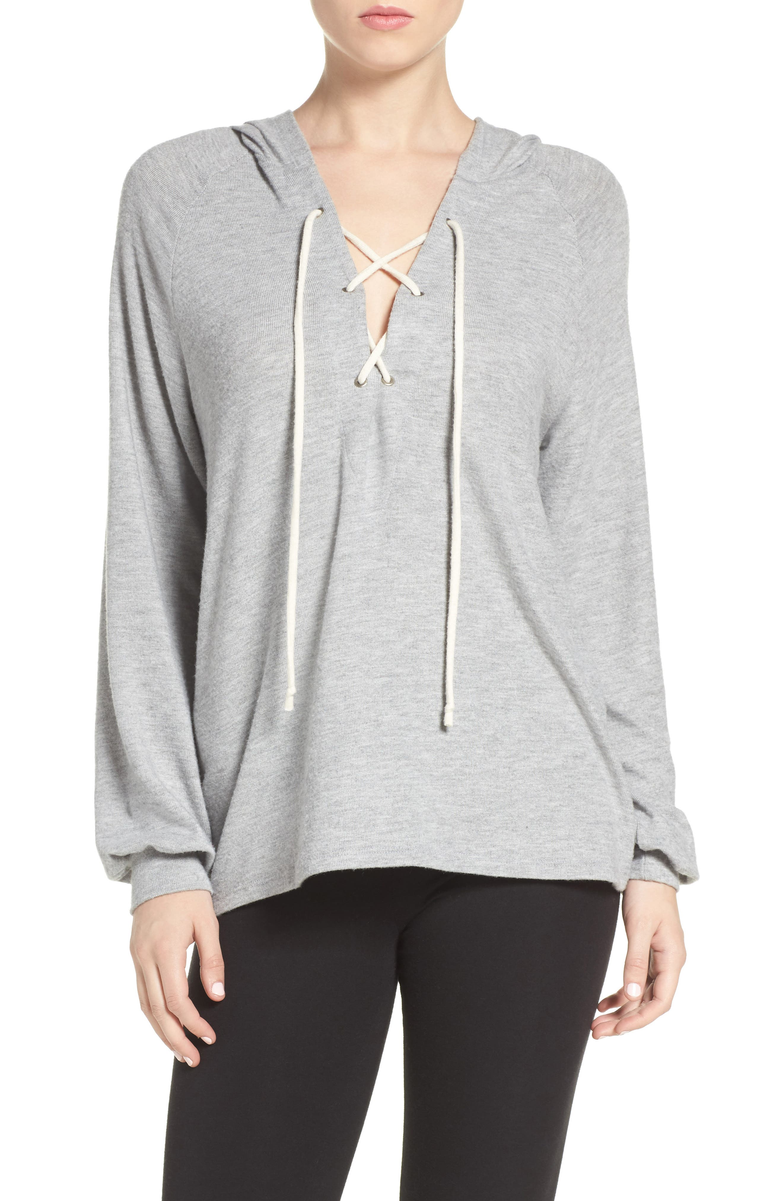 Carson Lace-Up Lounge Hoodie,                             Main thumbnail 1, color,                             Heather Grey/ Silk