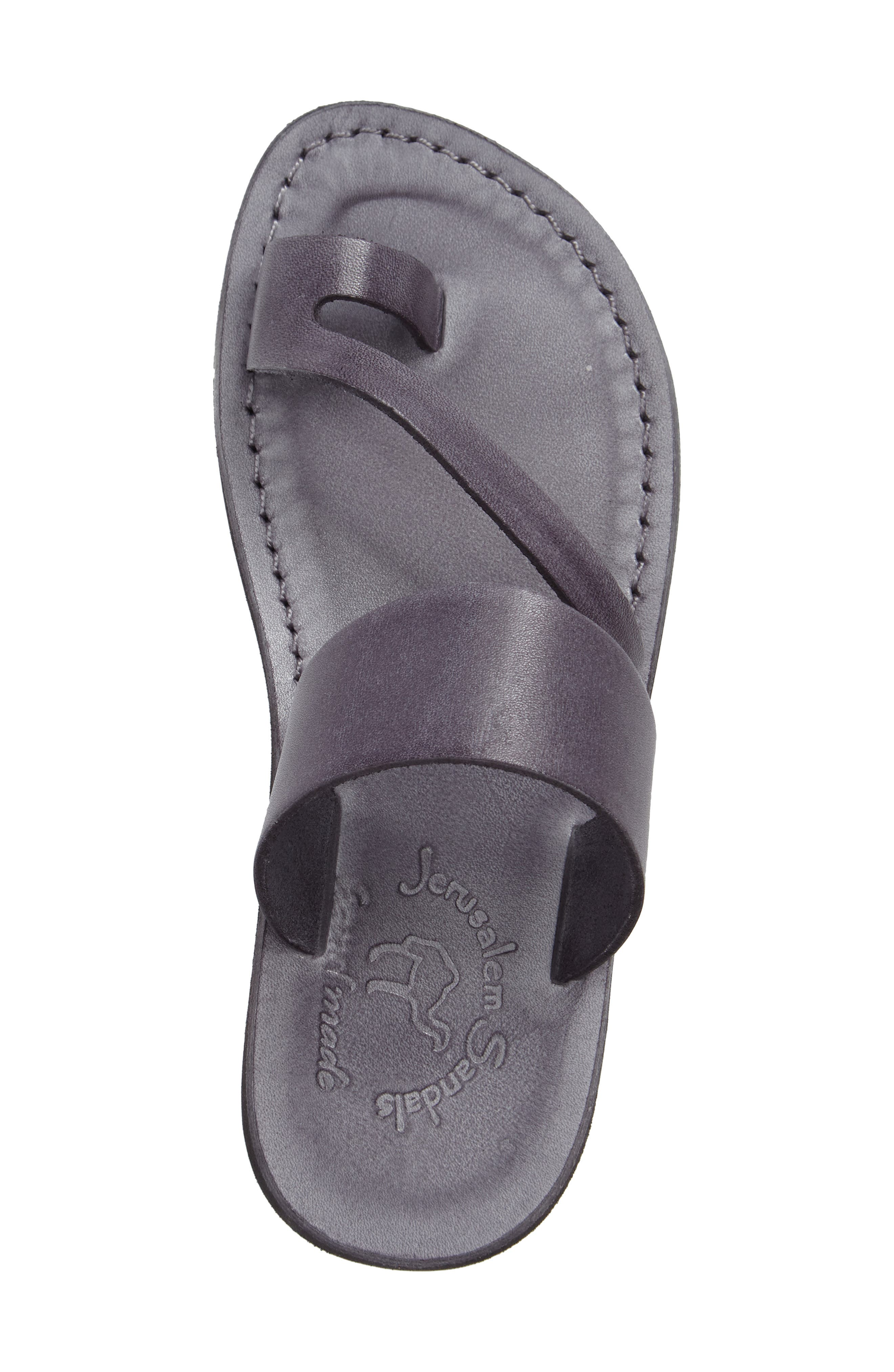 'Zohar' Leather Sandal,                             Alternate thumbnail 3, color,                             Grey Leather