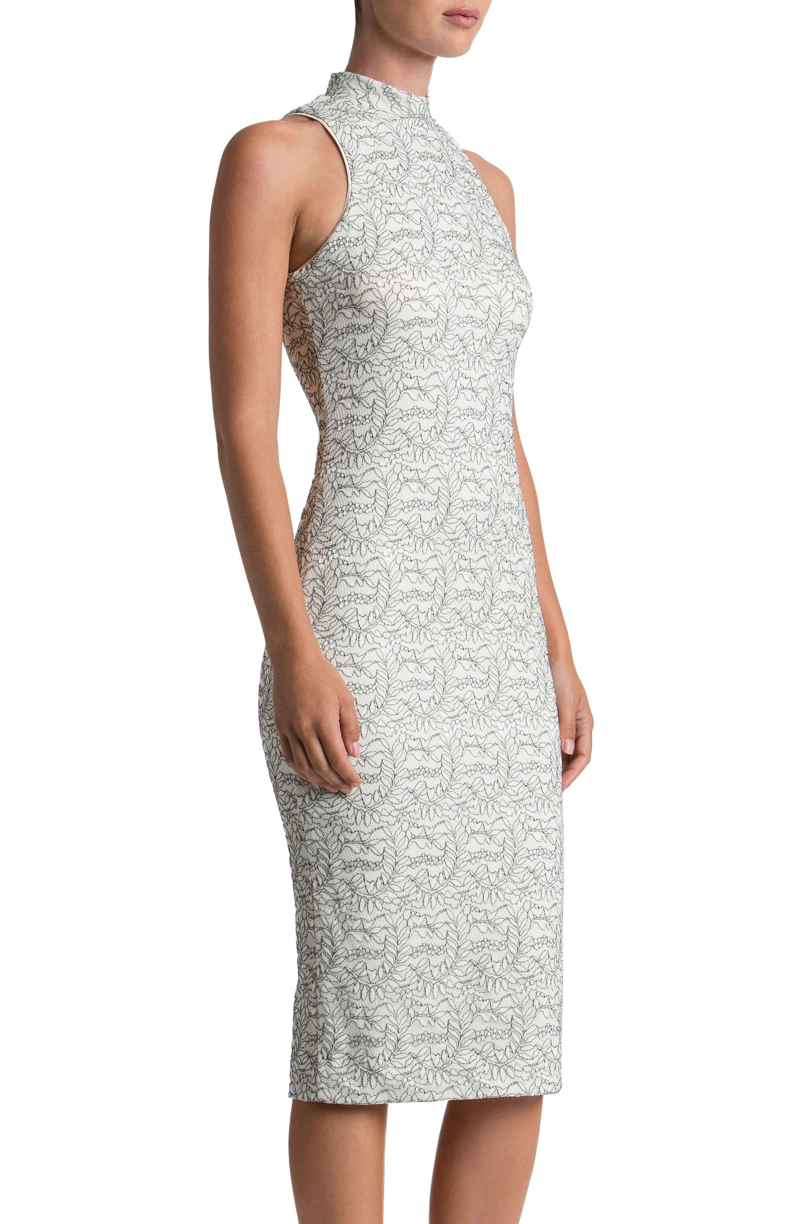 Norah Lace Midi Dress,                             Alternate thumbnail 3, color,                             Off White/ Black