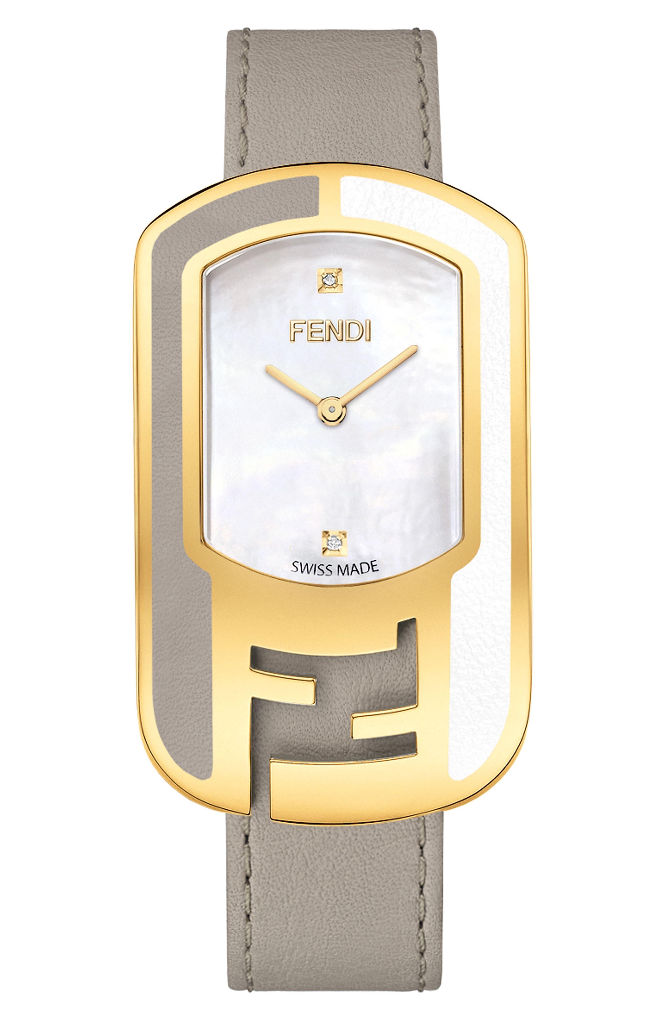 Main Image - Fendi Chameleon Leather Strap Watch, 29mm