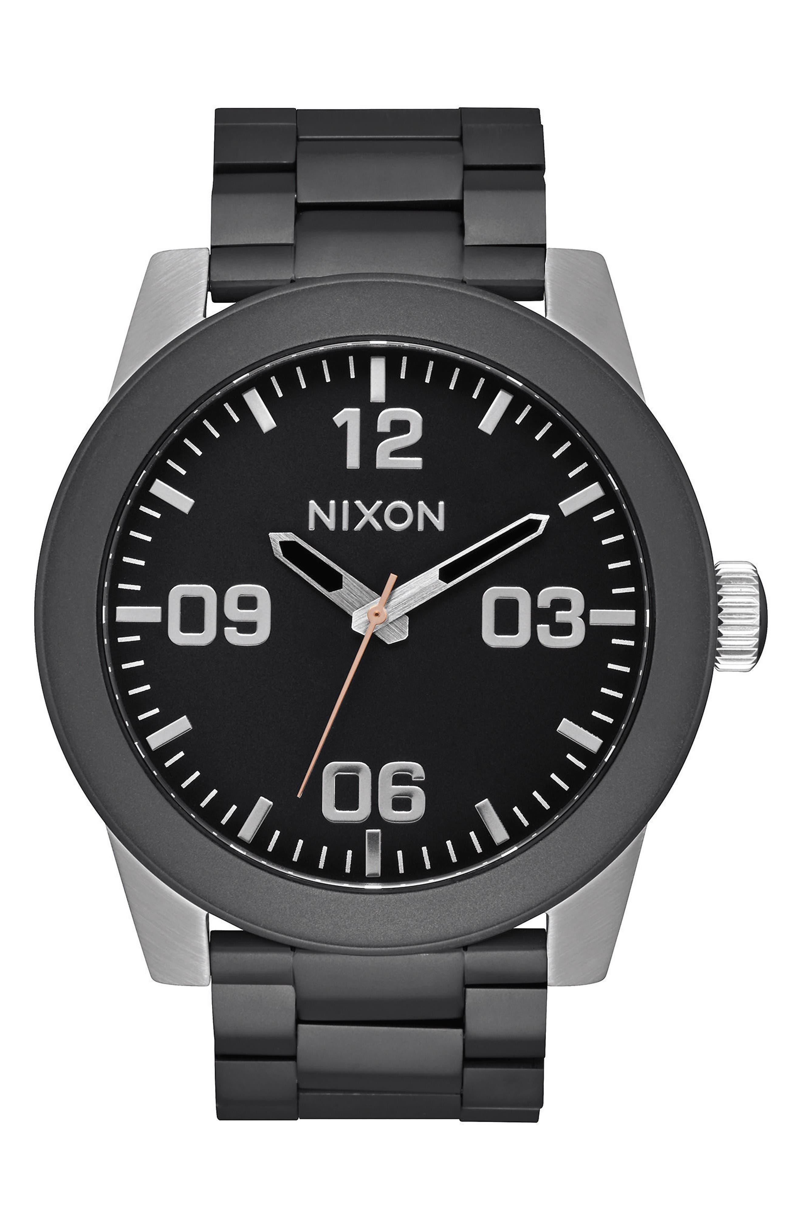 Corporal Bracelet Watch, 48mm,                             Main thumbnail 1, color,                             Black