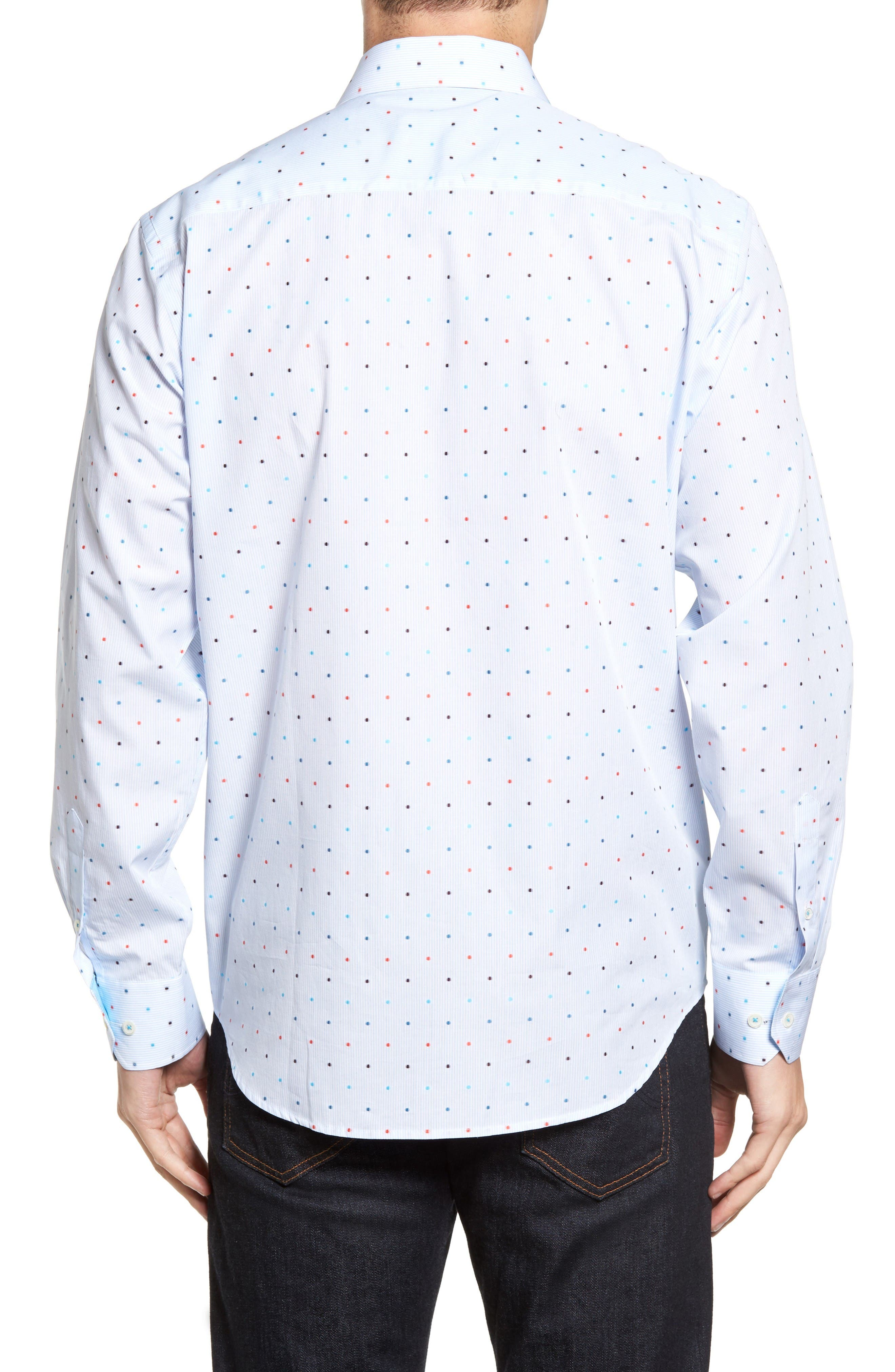 Alternate Image 2  - Bugatchi Classic Fit Dot Sport Shirt