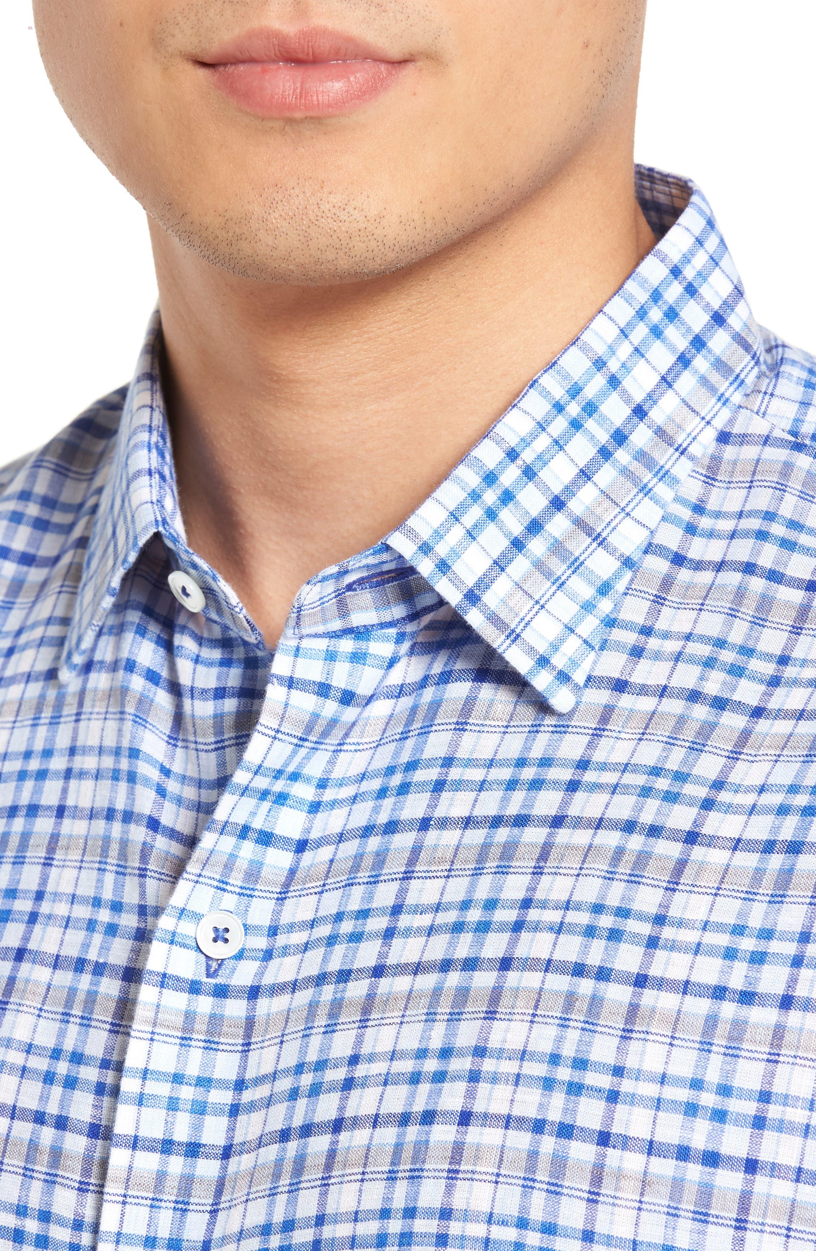 Bean Trim Fit Plaid Linen Sport Shirt,                             Alternate thumbnail 4, color,                             Royal