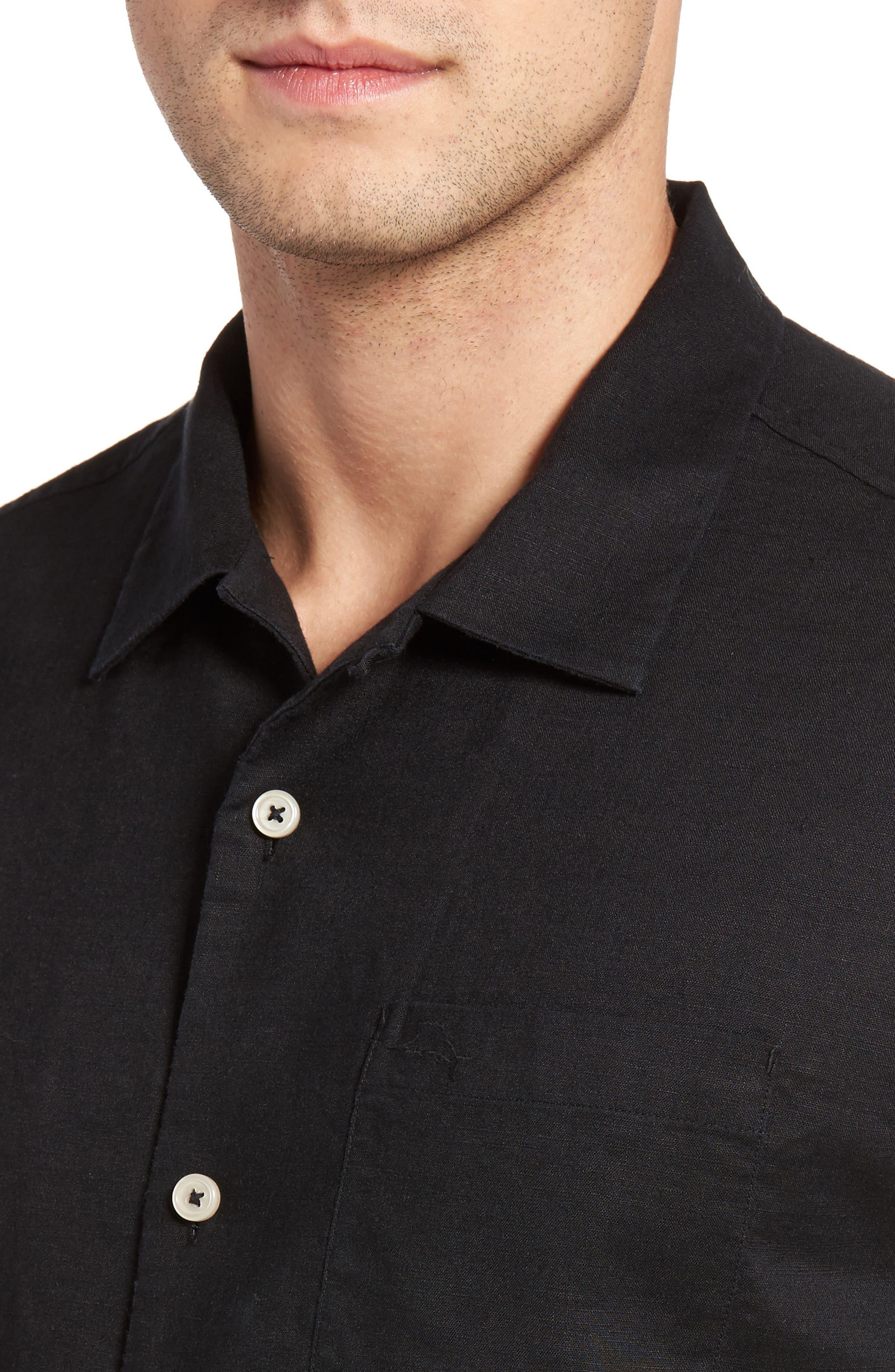 Monaco Tides Linen Blend Camp Shirt,                             Alternate thumbnail 4, color,                             Black