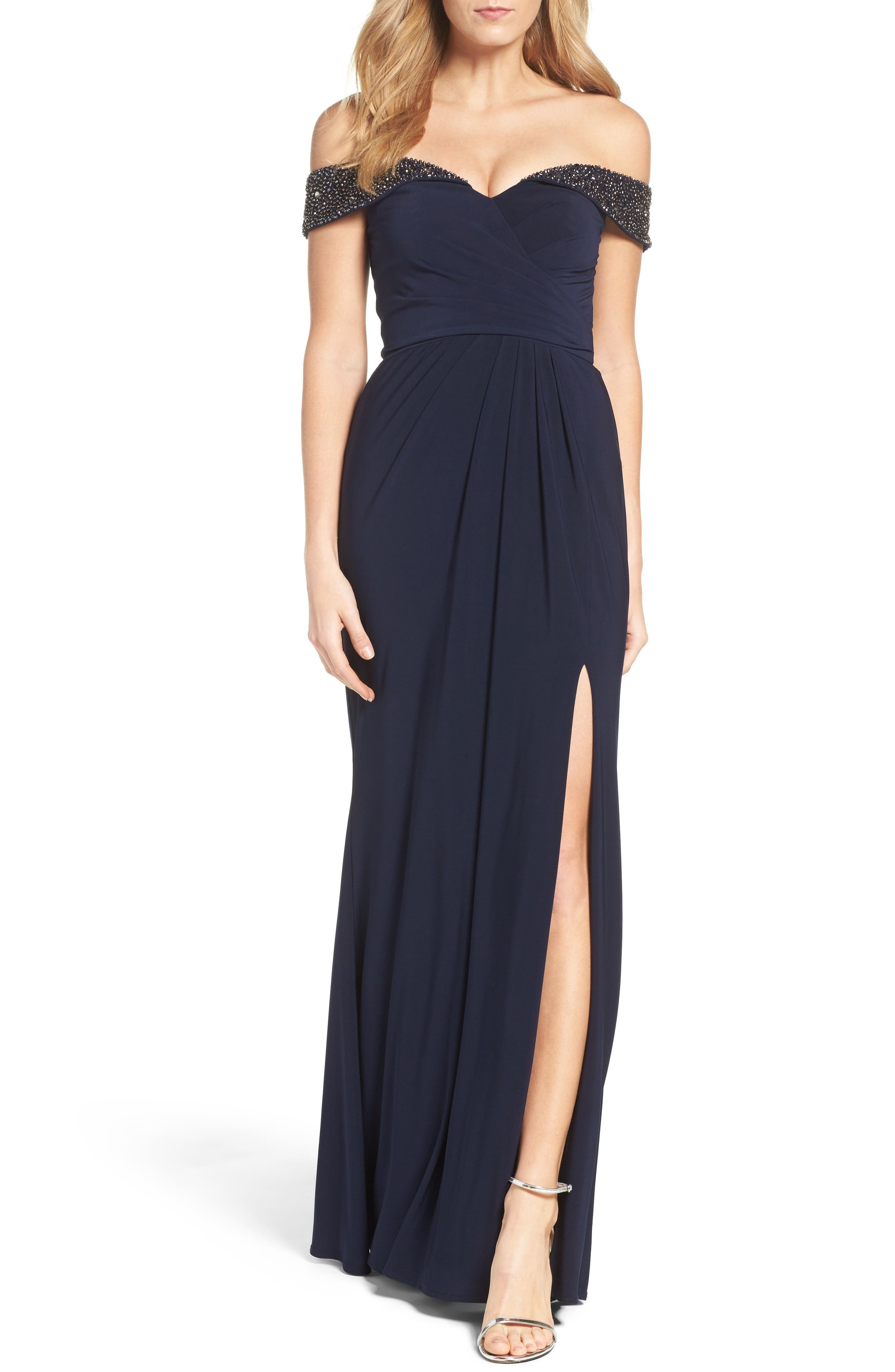Main Image - Xscape Off the Shoulder Beaded Gown (Regular & Petite)