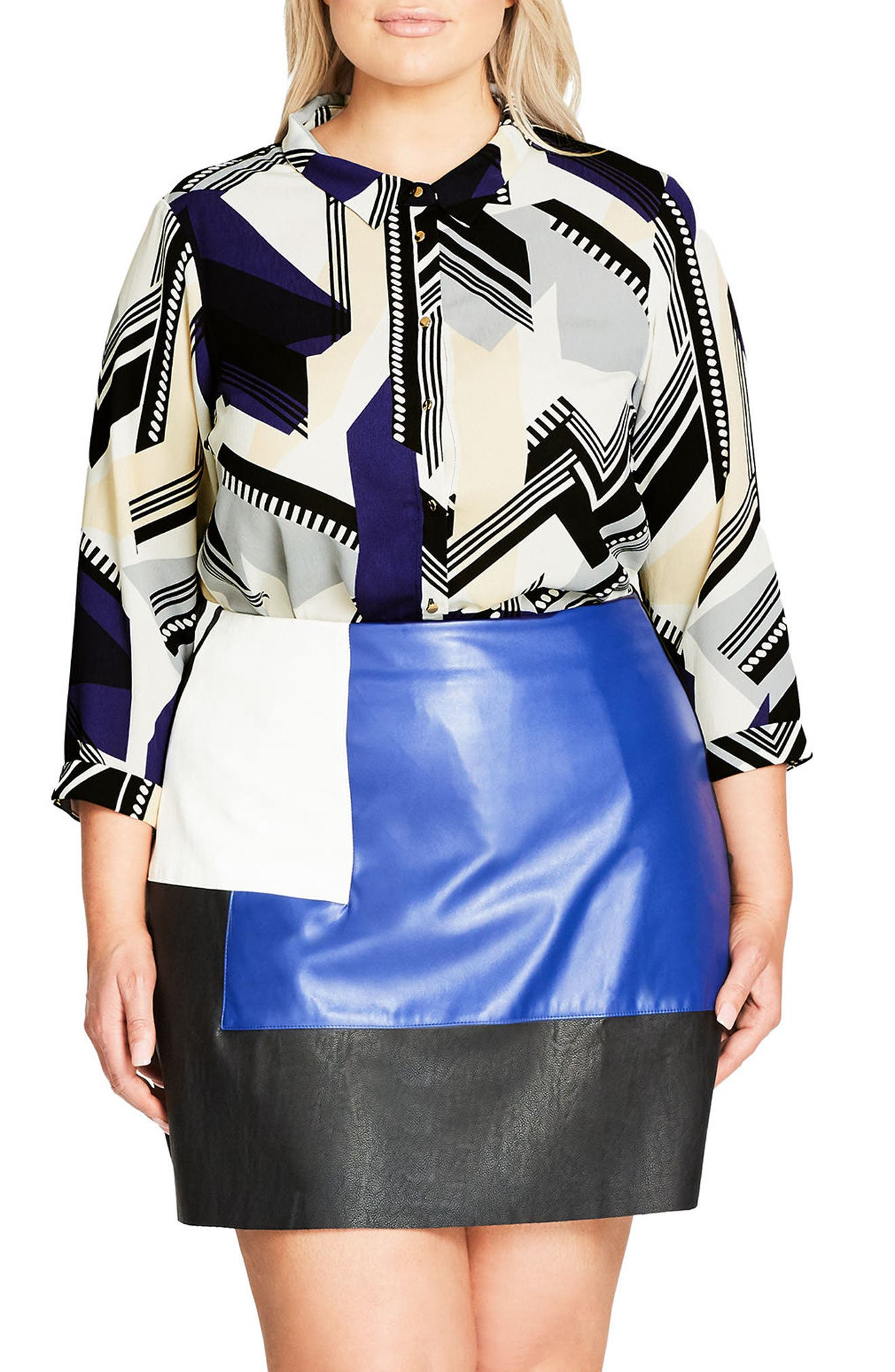 City Chic Jagged Stripe Shirt (Plus Size)