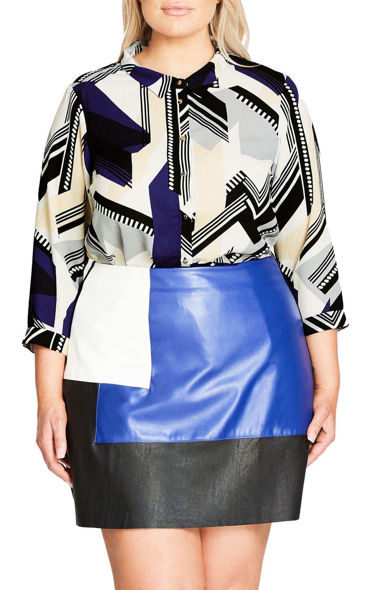 City Chic Jagged Stripe Shirt (Plus Size)