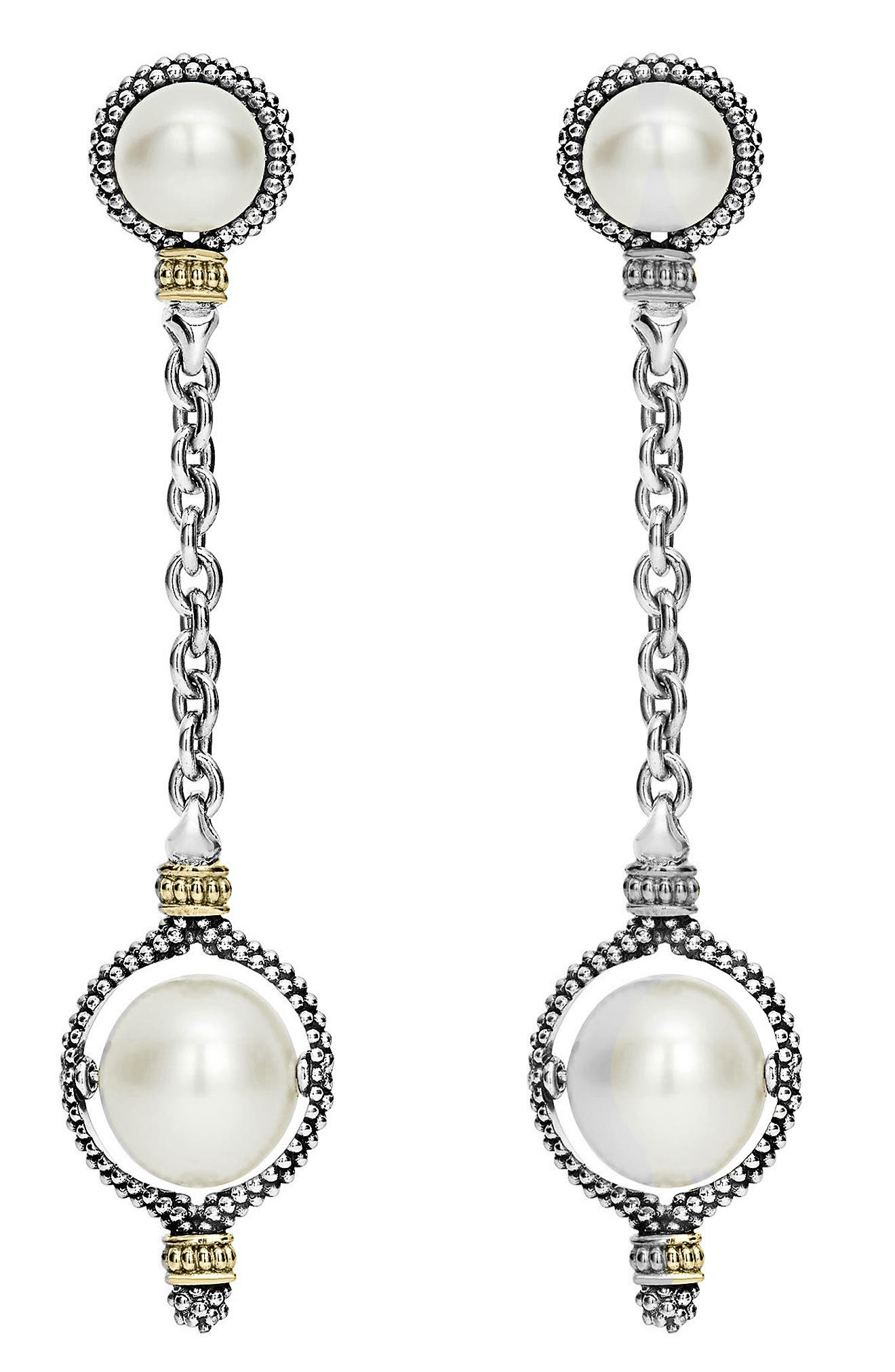 Luna Pearl Drop Earrings,                             Alternate thumbnail 3, color,                             Silver/ Pearl