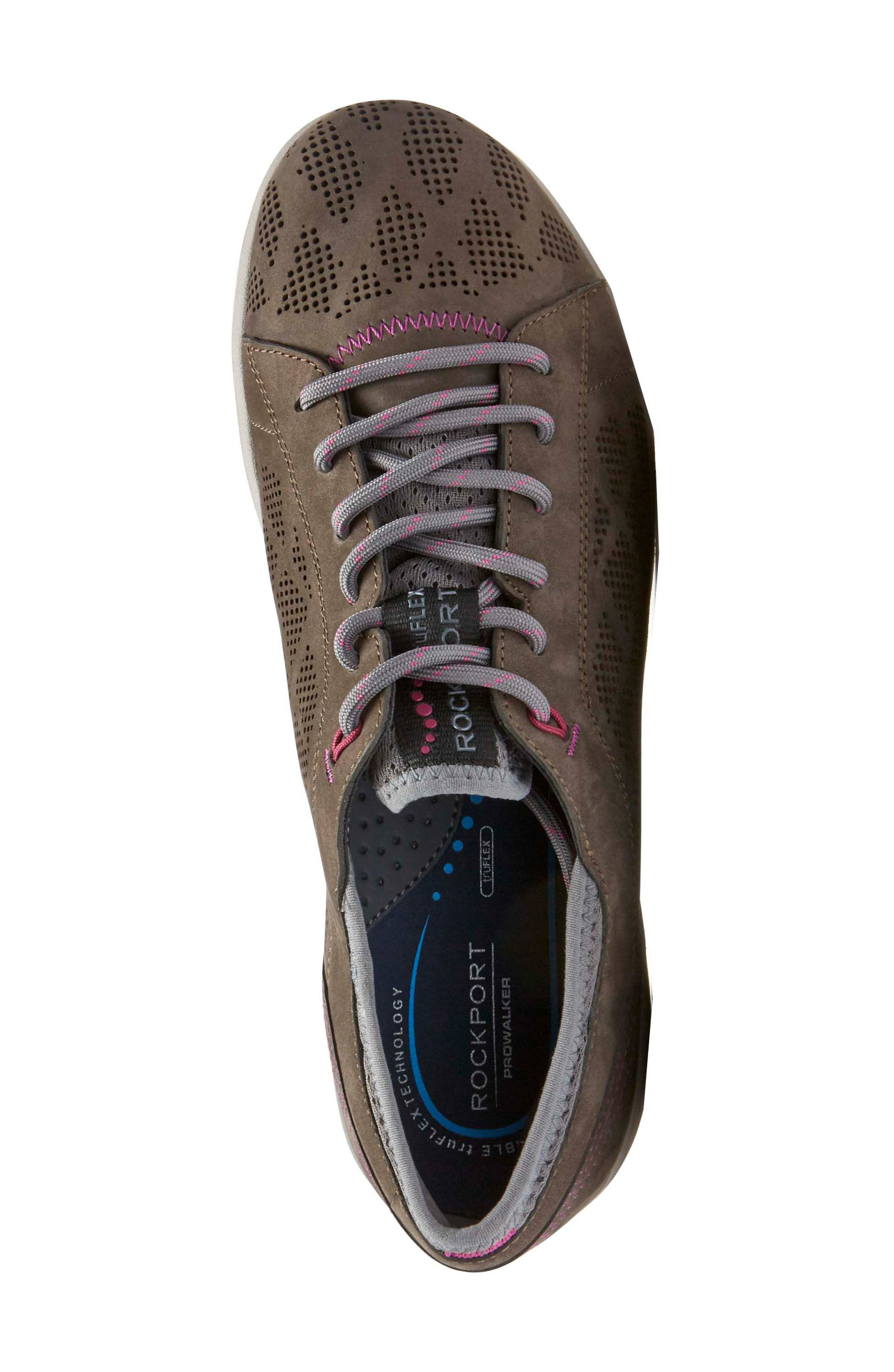 truFLEX Perforated Sneaker,                             Alternate thumbnail 4, color,                             Stone Leather