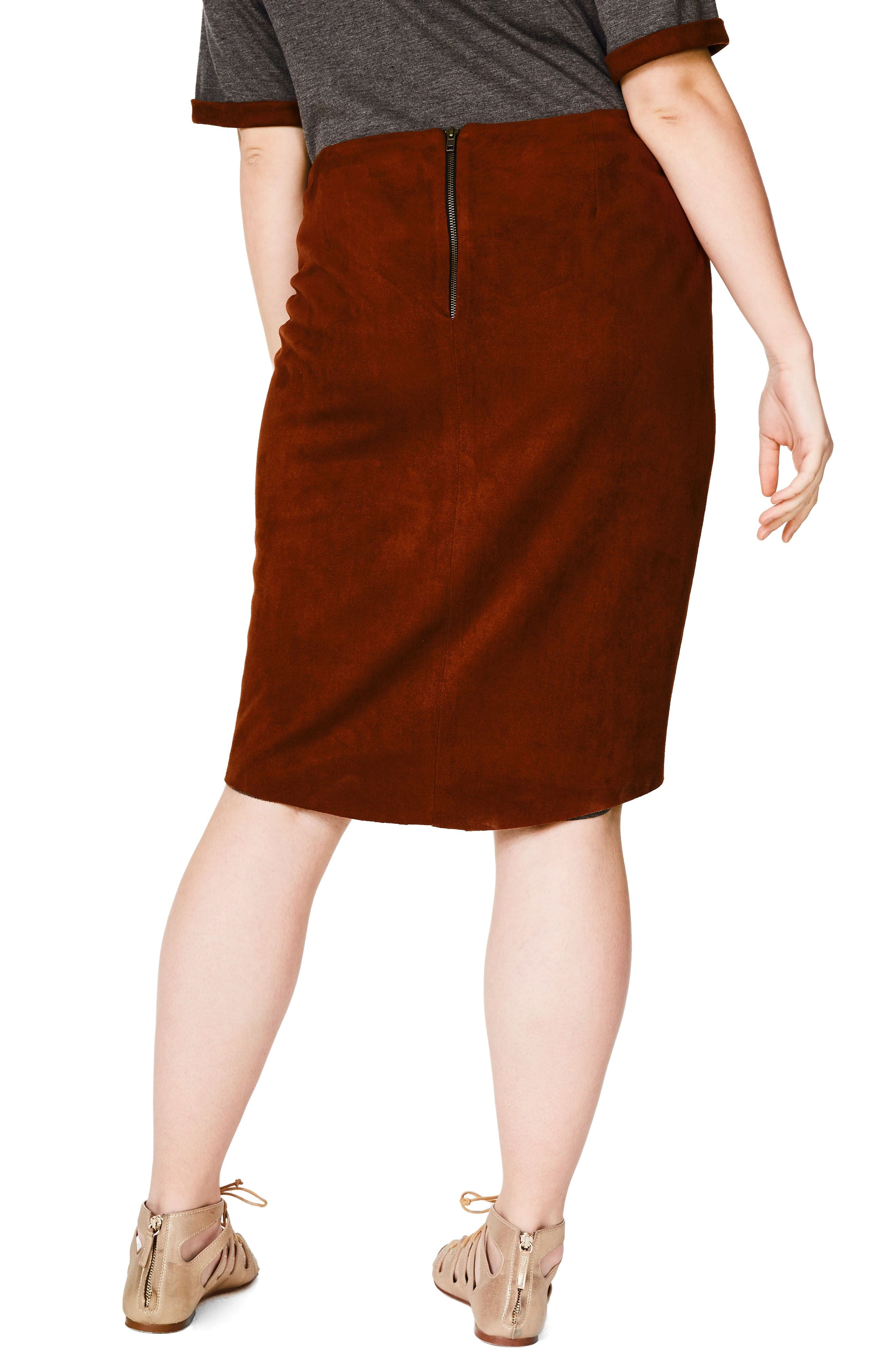 Alternate Image 3  - ELVI Faux Suede Skirt (Plus Size)