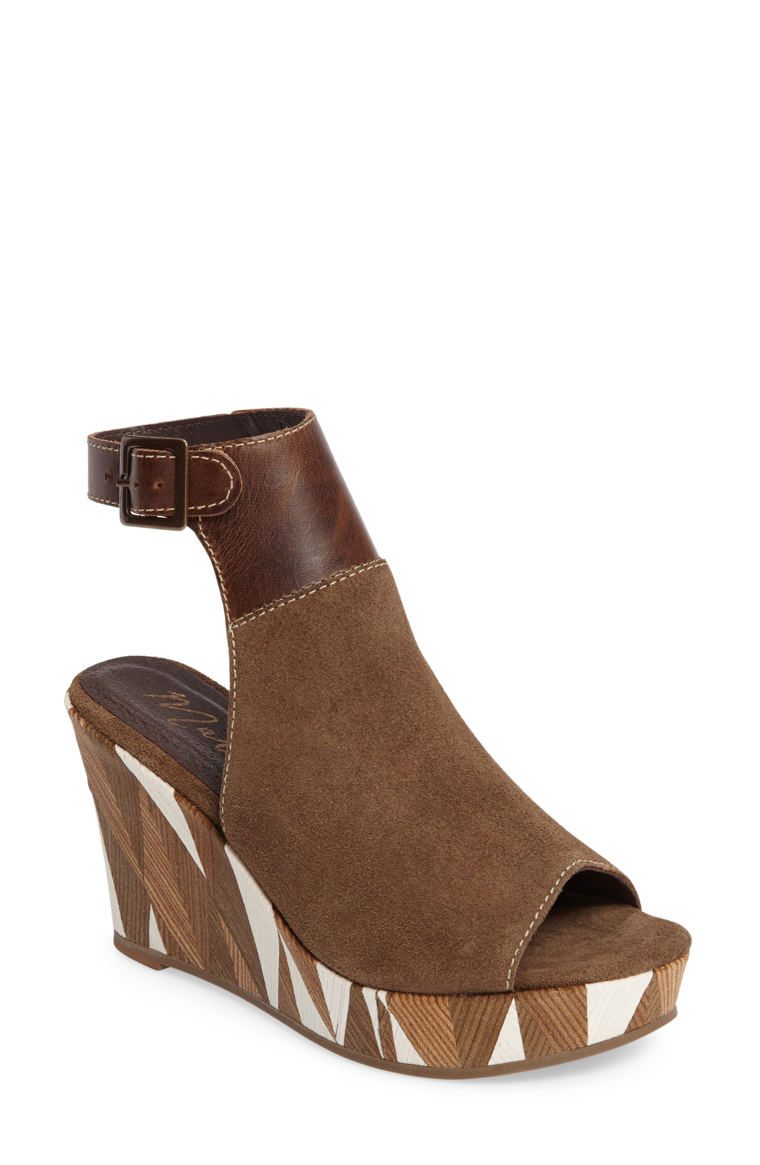 Harlequin Wedge Sandal,                             Main thumbnail 1, color,                             Taupe Leather