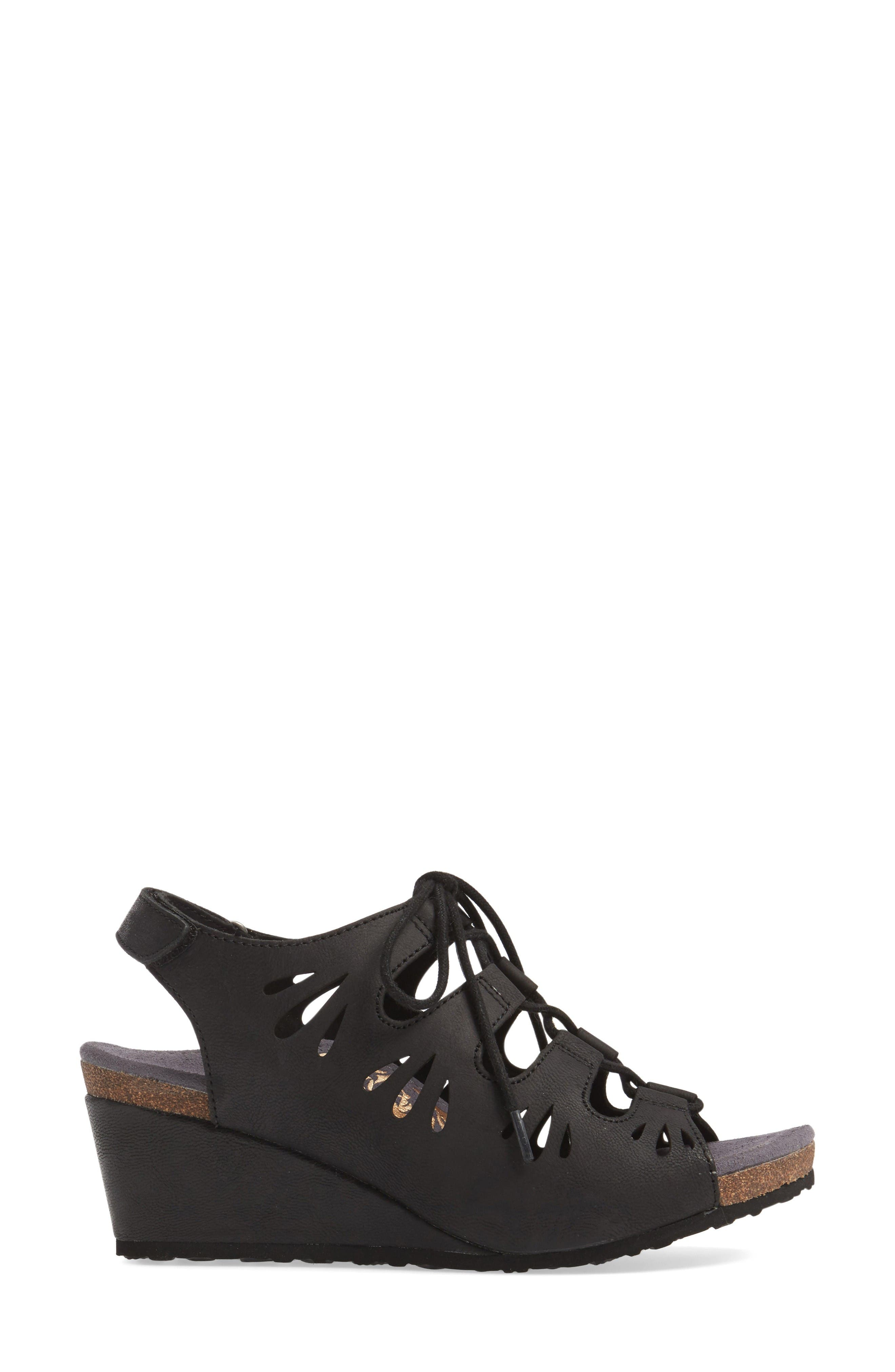 Giselle Slingback Wedge Sandal,                             Alternate thumbnail 3, color,                             Black Leather
