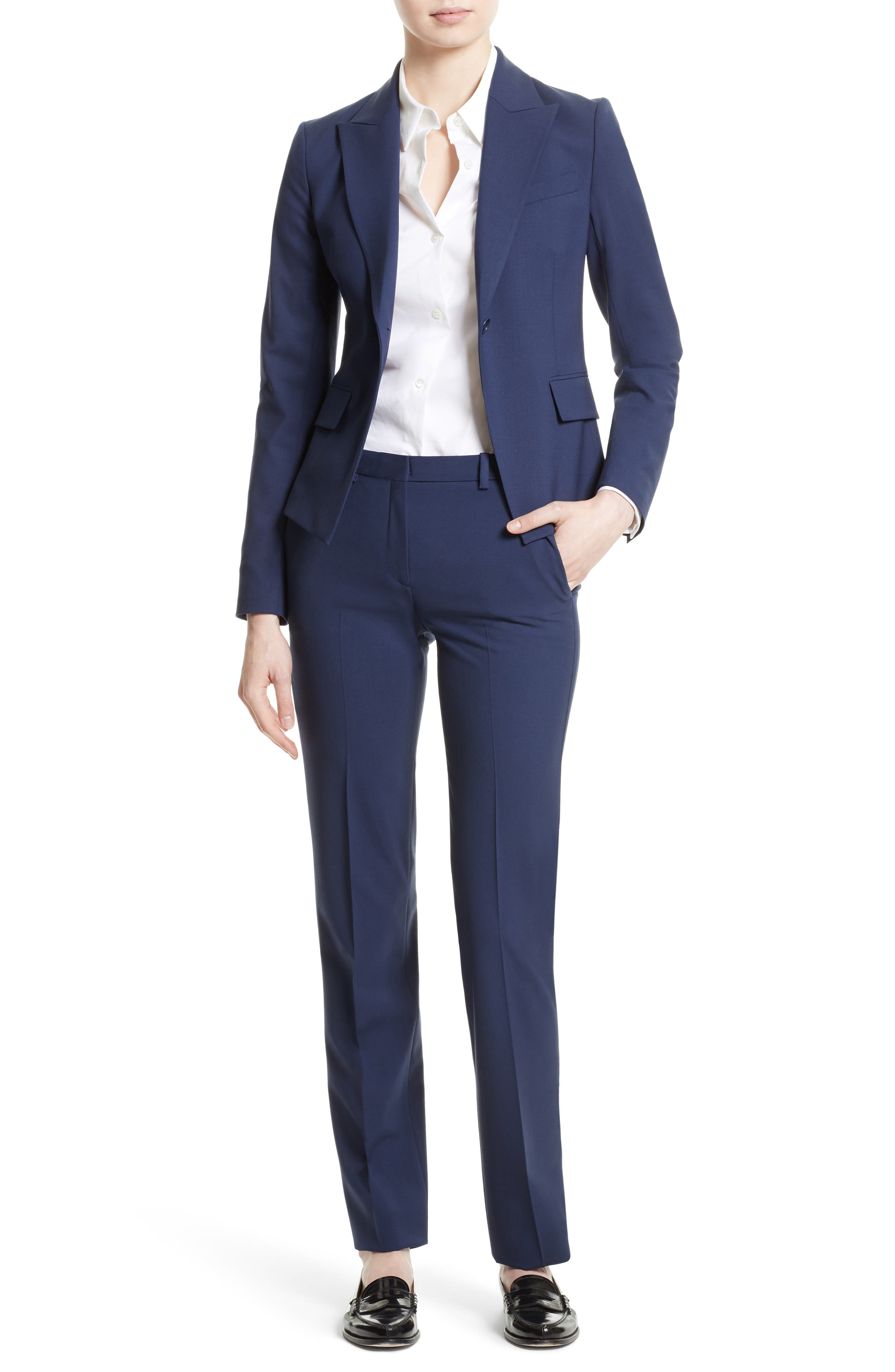 Theory Jacket & Pants Outfit with Accessories