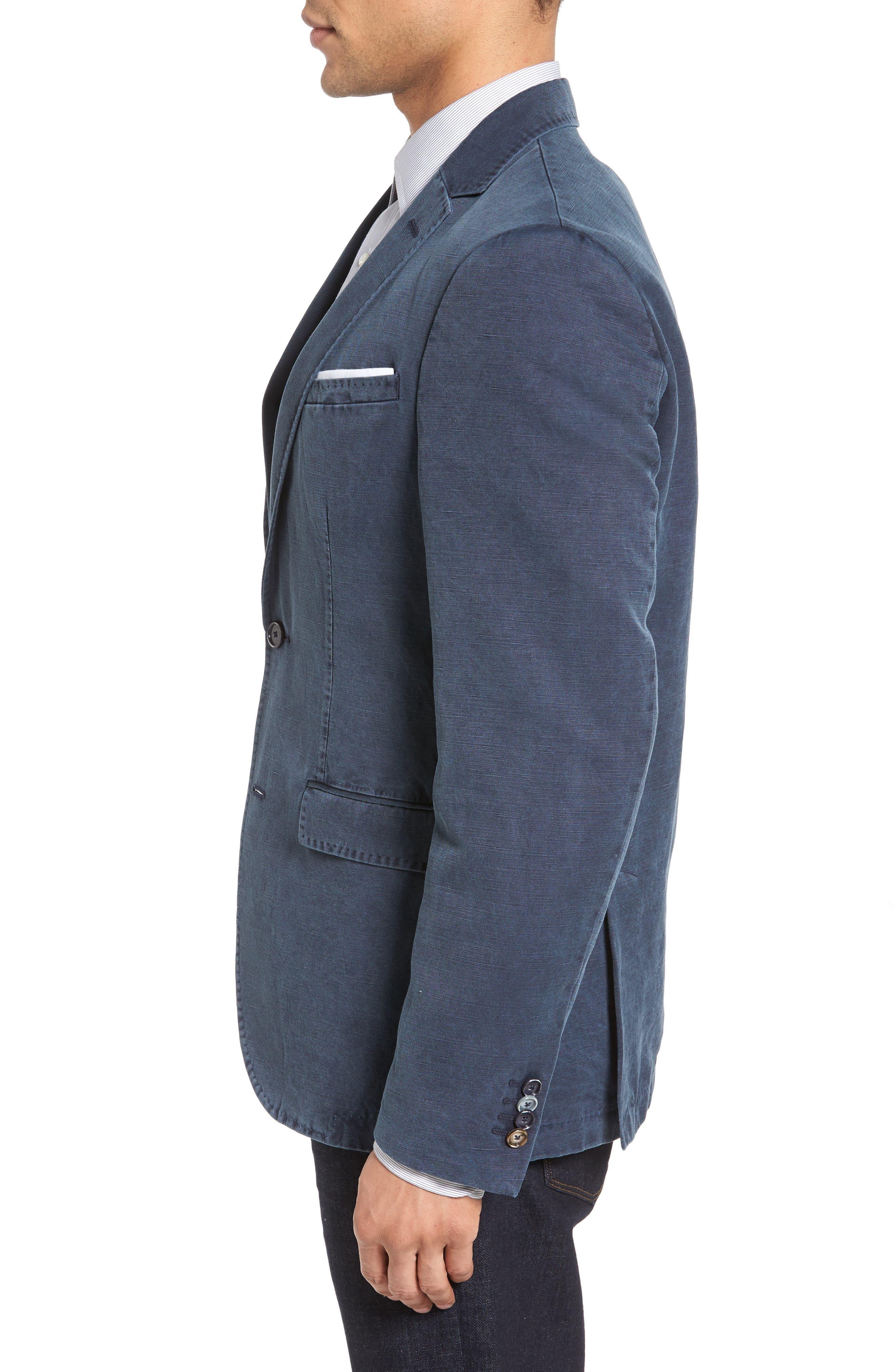 Trim Fit Cotton & Linen Blazer,                             Alternate thumbnail 3, color,                             Navy