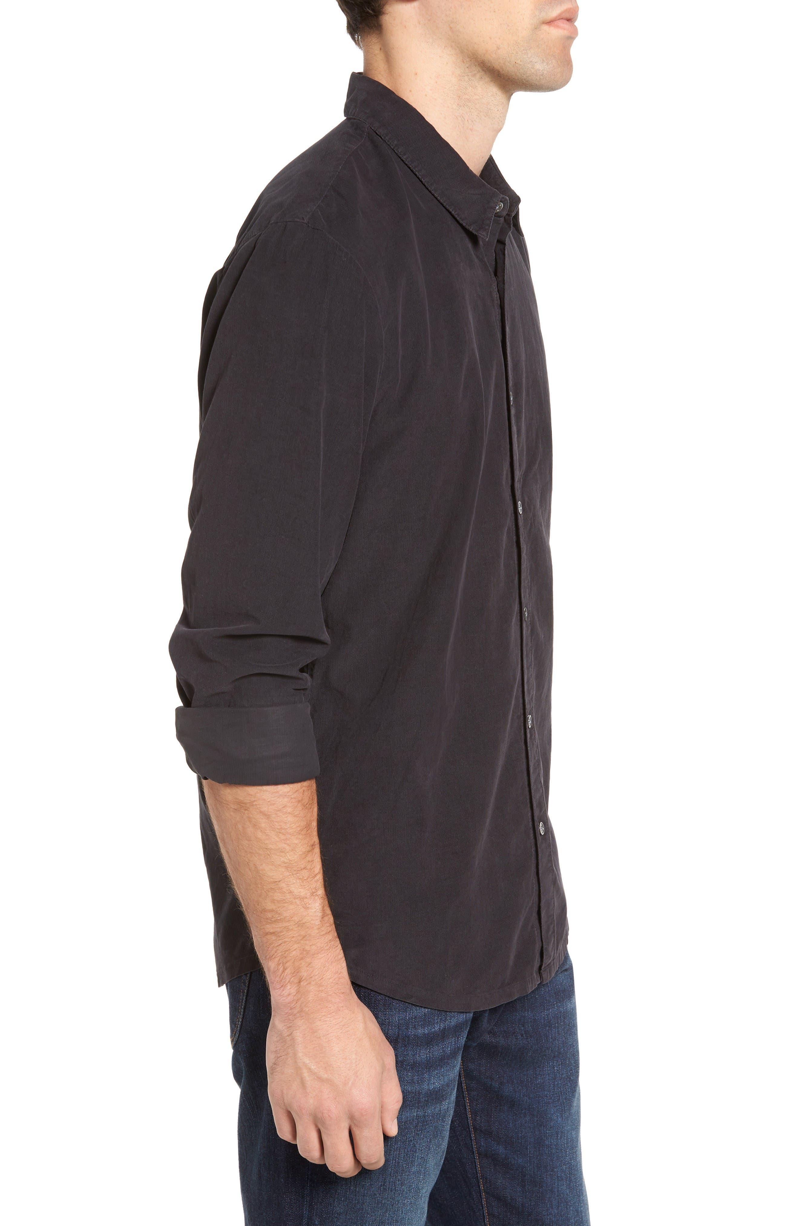 Corduroy Sport Shirt,                             Alternate thumbnail 3, color,                             Carbon Pigment