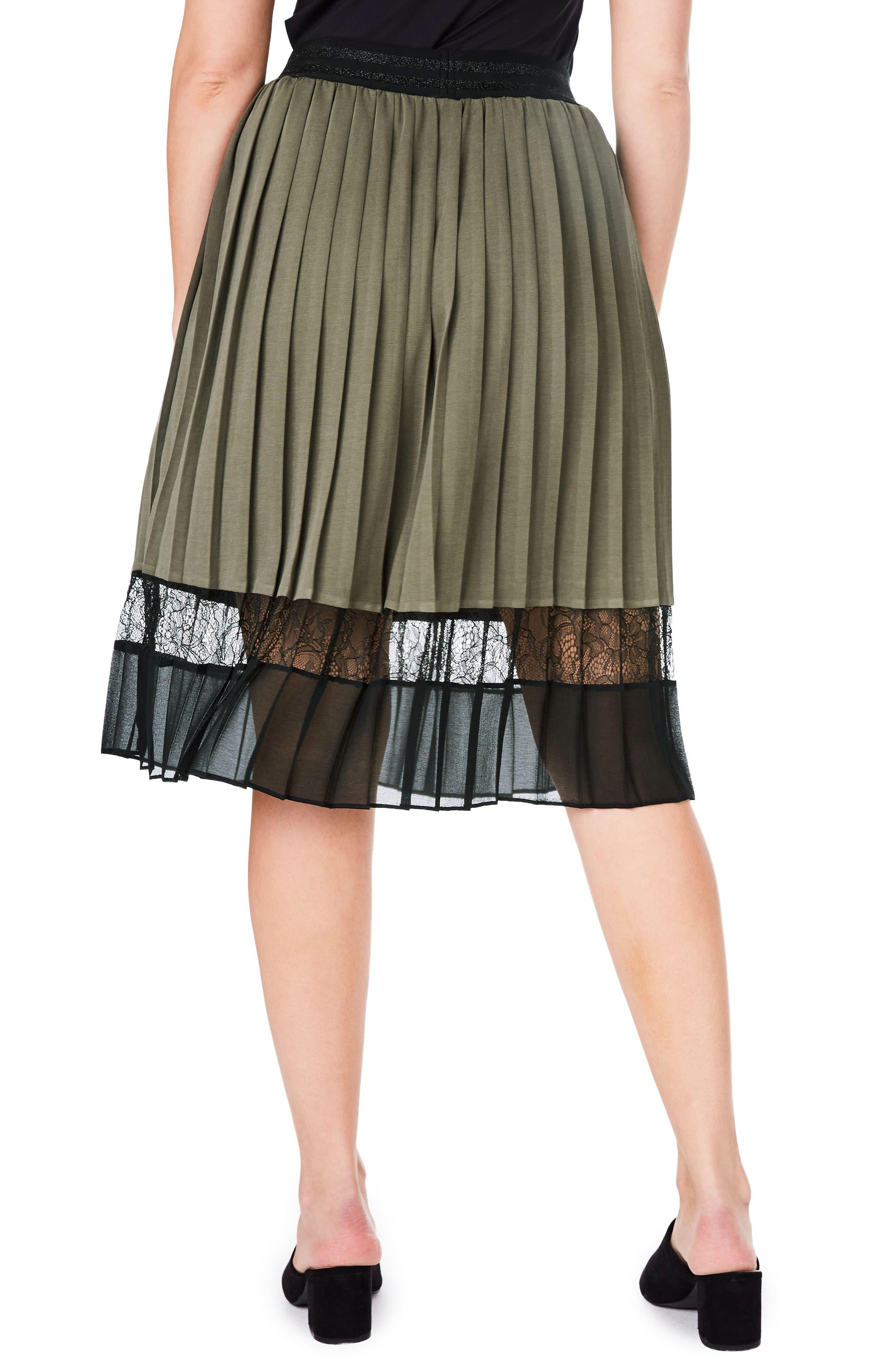 Lace Hem Pleat Skirt,                             Alternate thumbnail 2, color,                             Khaki