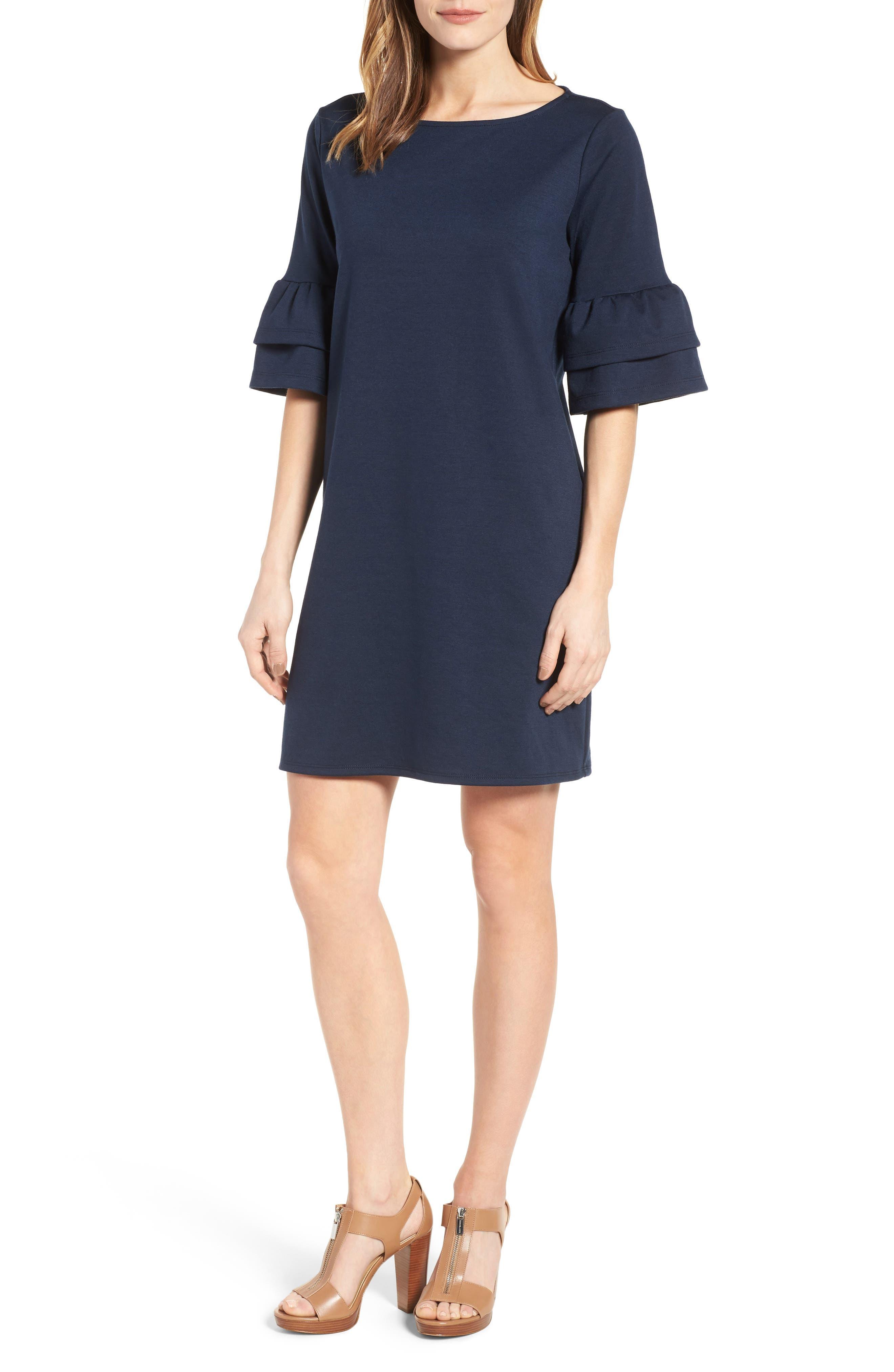 Ruffle Sleeve Shift Dress,                         Main,                         color, Navy