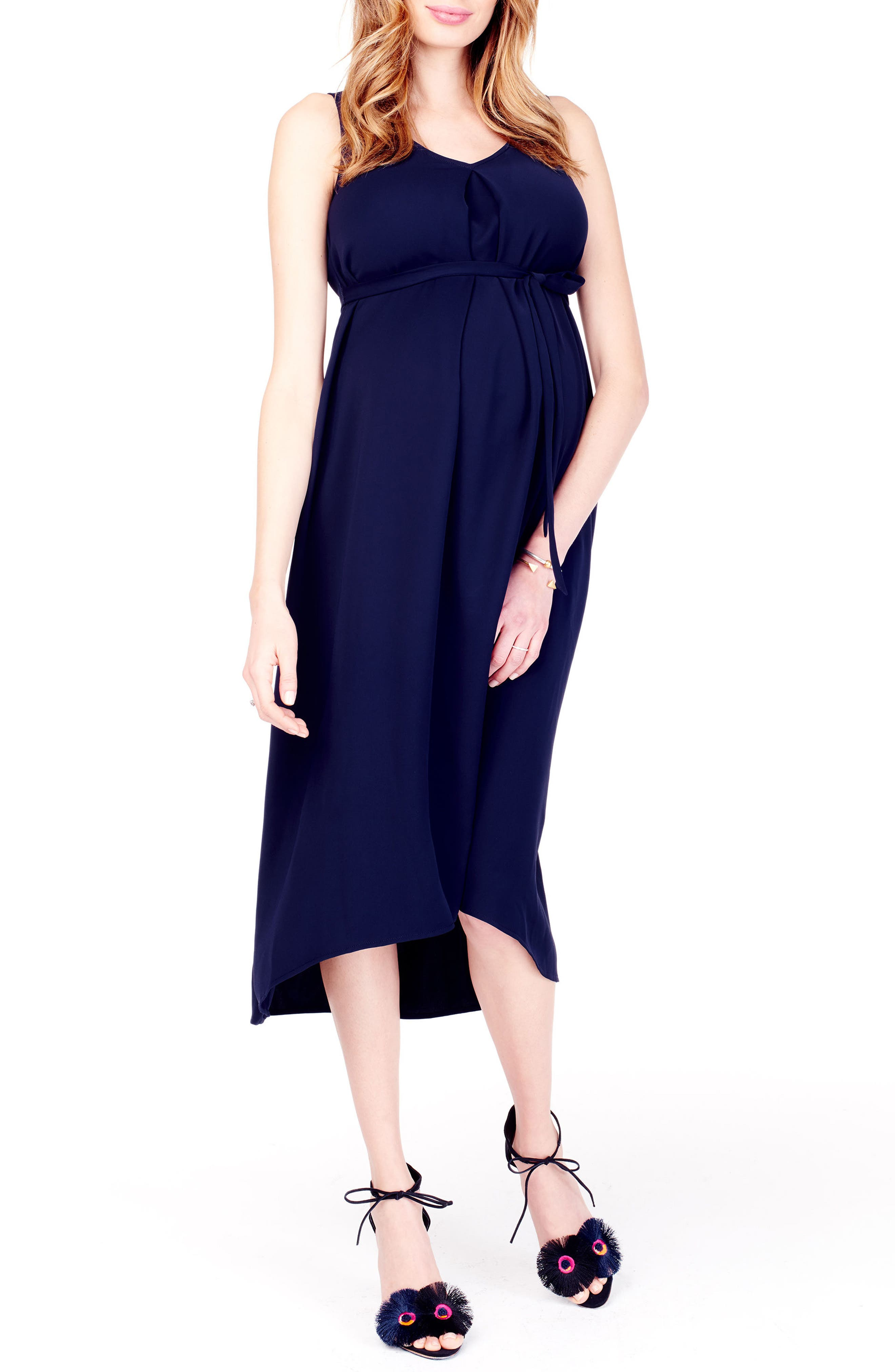 High/Low Maternity Dress,                         Main,                         color, True Navy