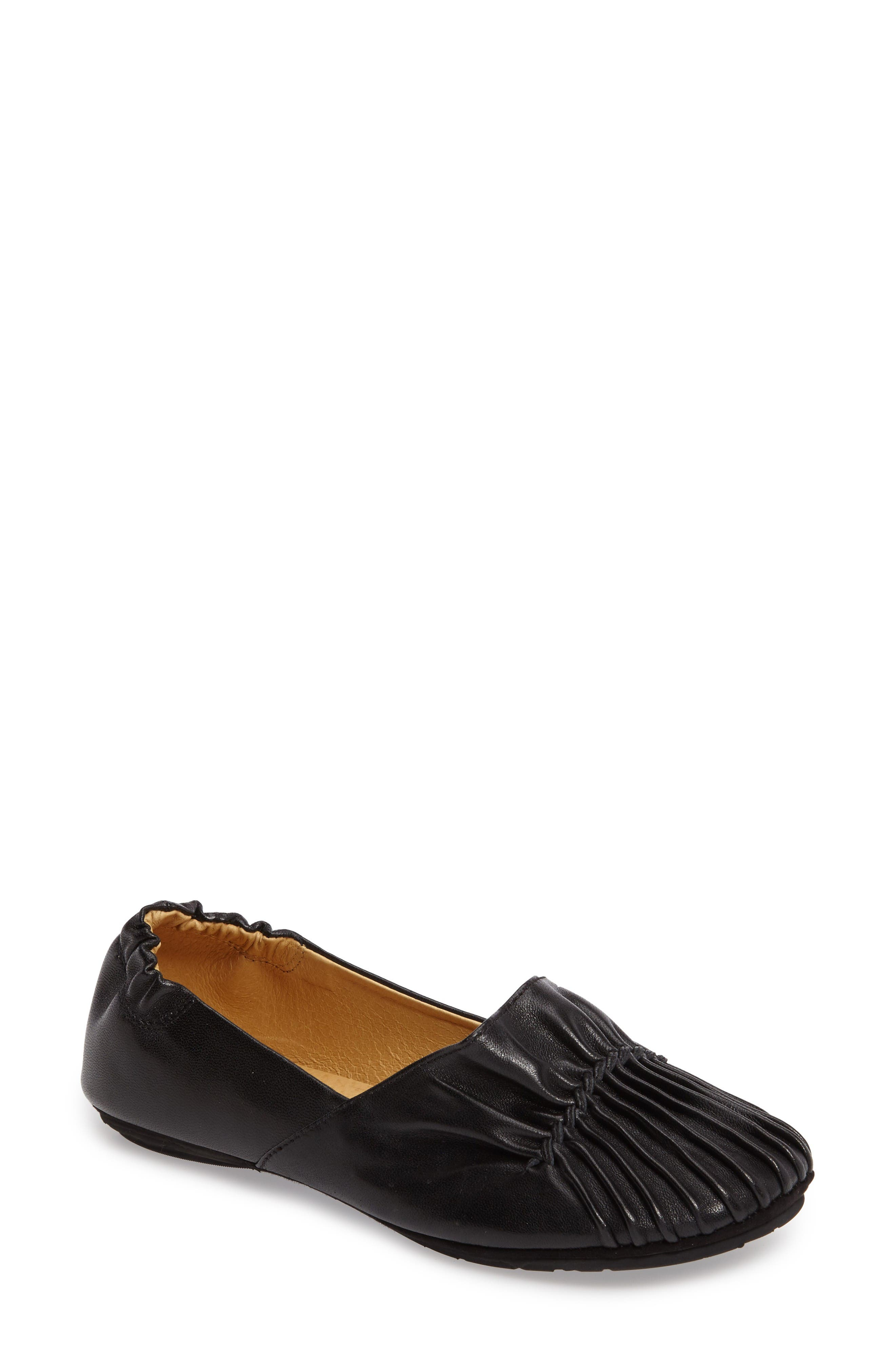 Seamed Flat,                         Main,                         color, Black Leather