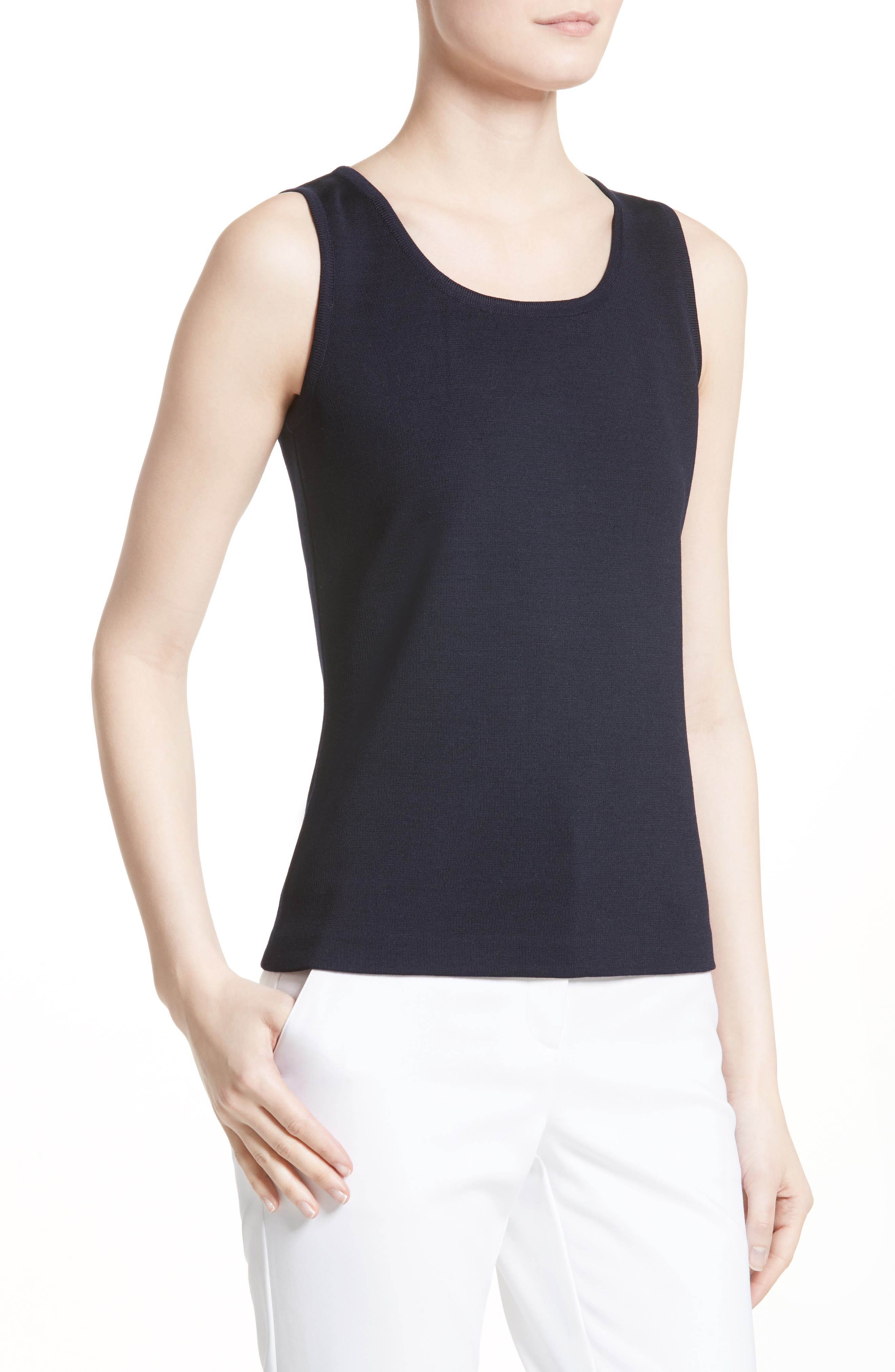Milano Knit Contour Tank,                             Alternate thumbnail 6, color,                             Navy