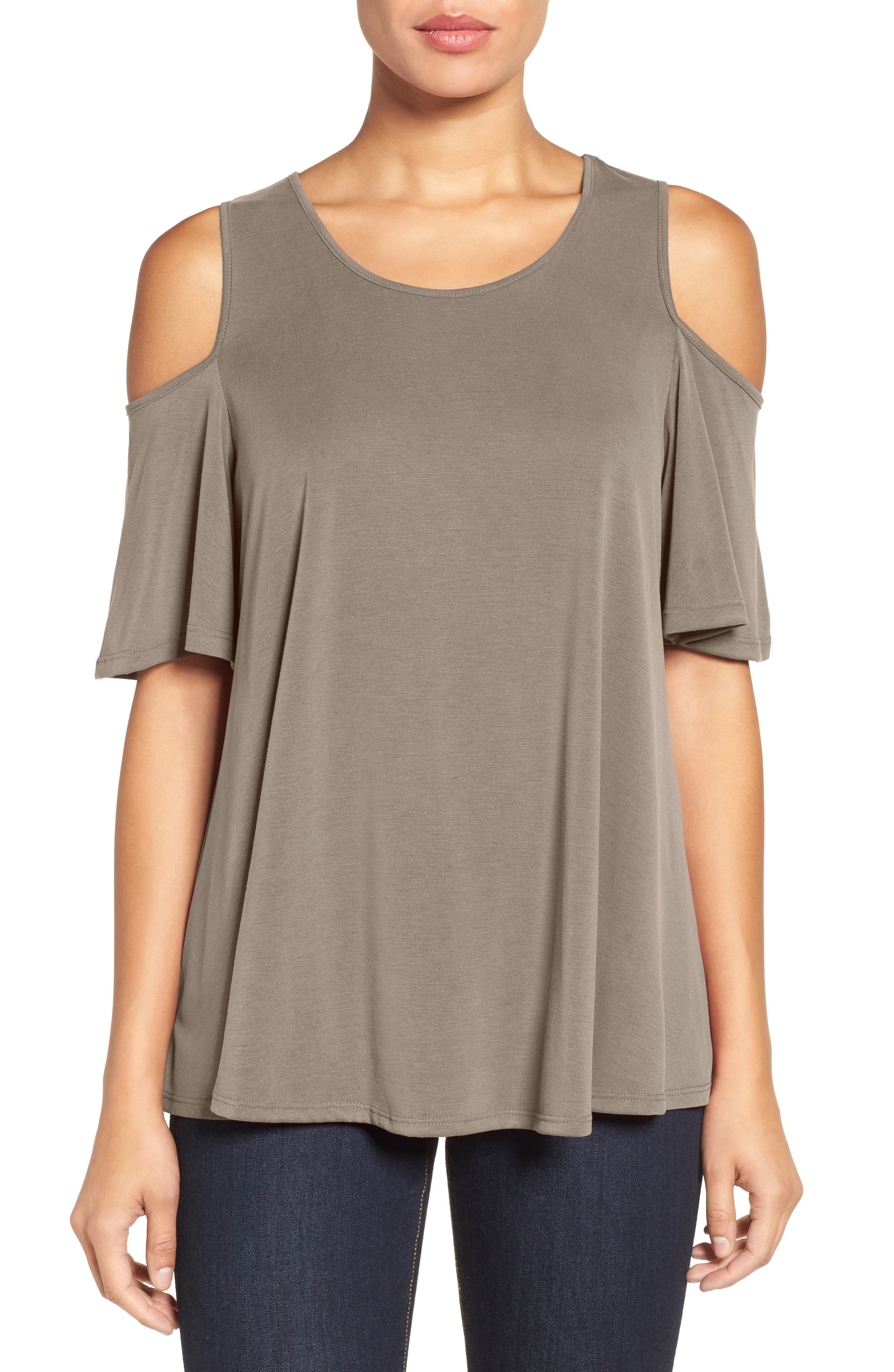 Alternate Image 1 Selected - Bobeau Cold Shoulder Flutter Sleeve Top (Regular & Petite)