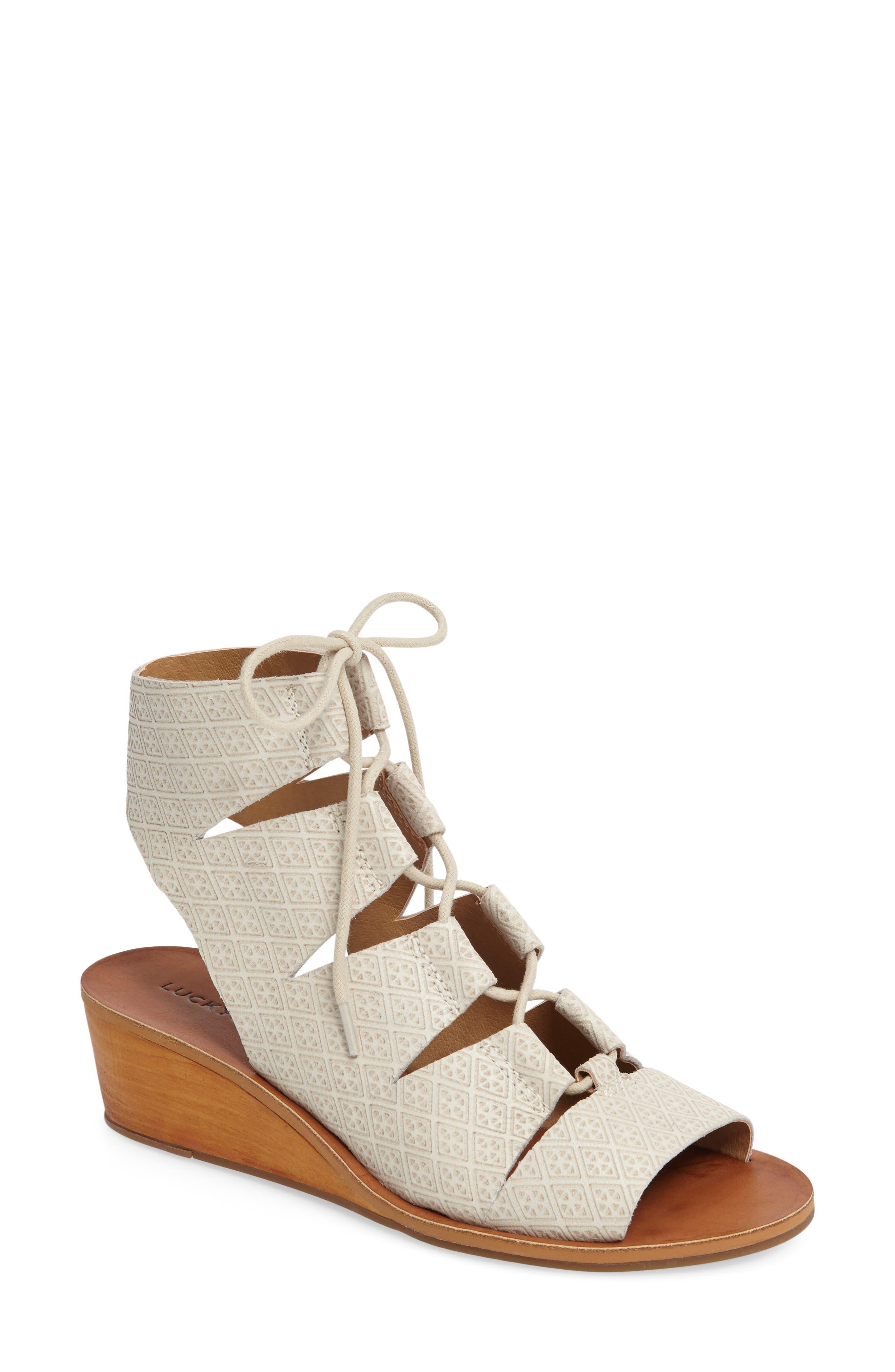 Gizi Wedge Sandal,                             Main thumbnail 1, color,                             Sand Shell Leather