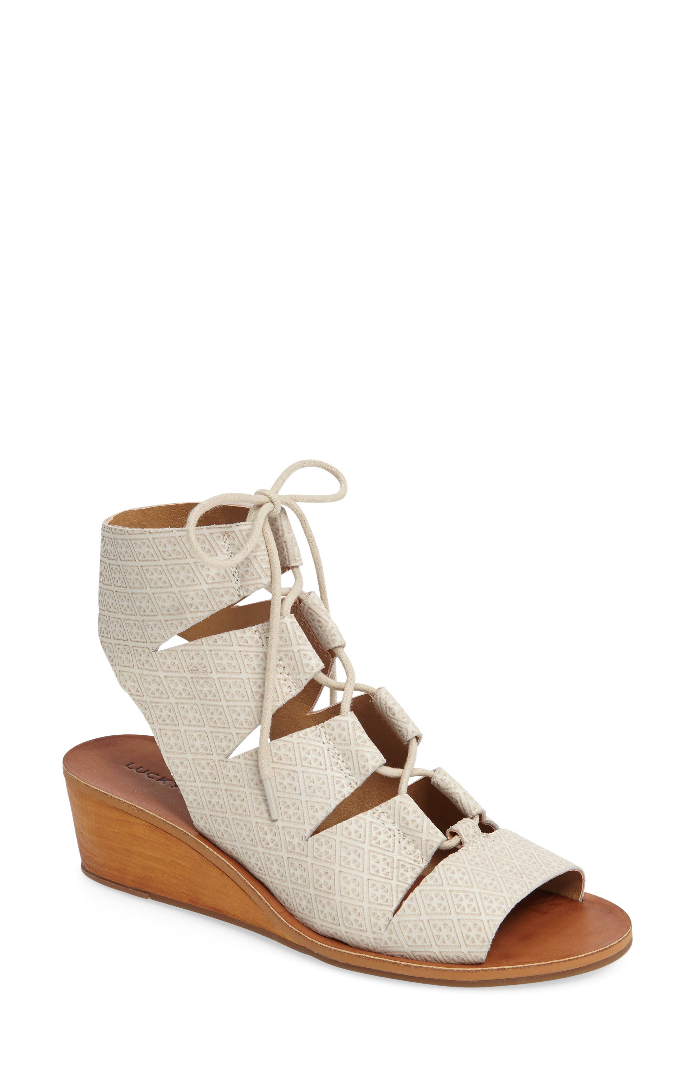 Gizi Wedge Sandal,                         Main,                         color, Sand Shell Leather